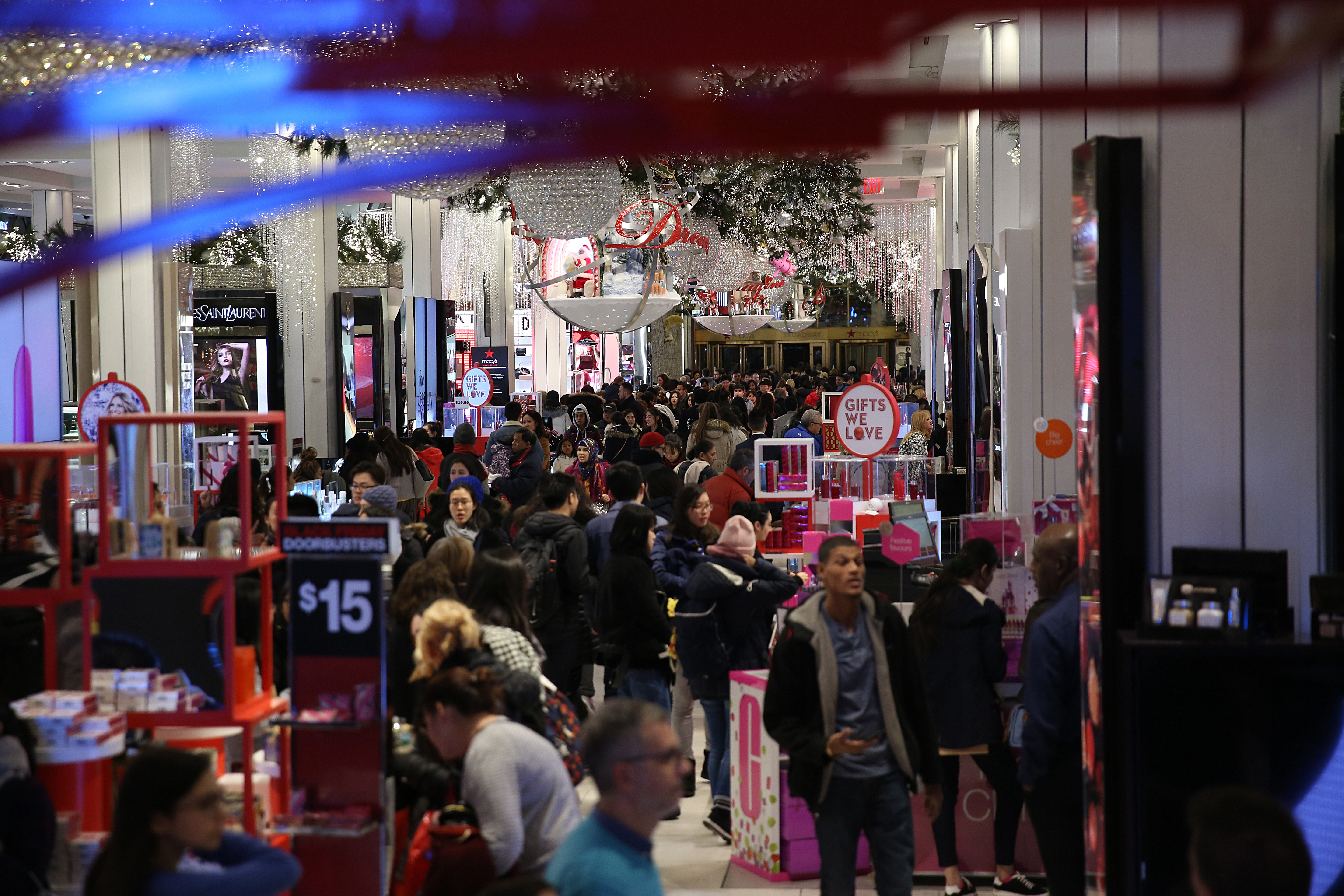 People shopping at a busy Macy's store on Black Friday in Midtown Manhattan on November 23, 2017 in New York, United States.