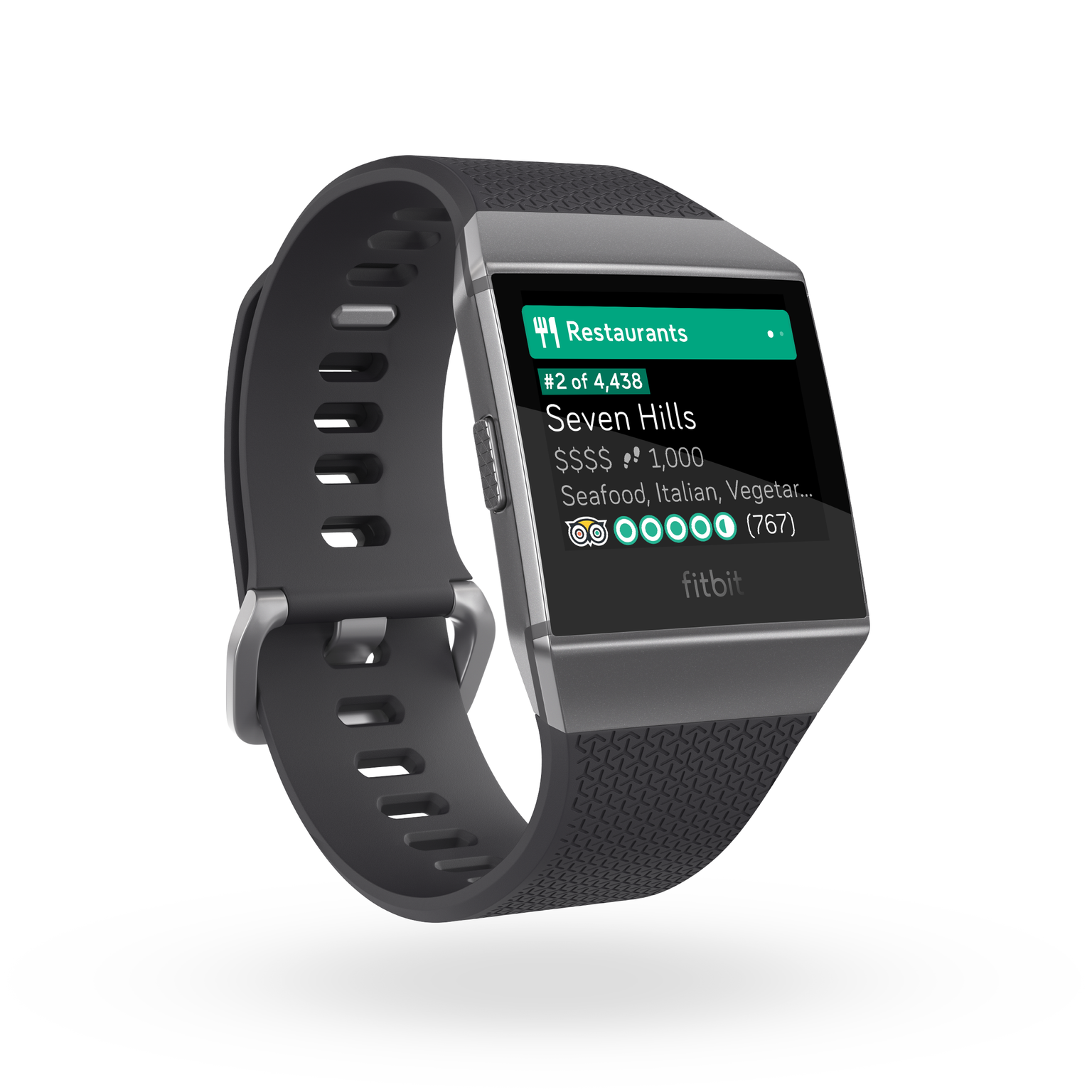 The initial TripAdvisor app for Fitbit's Ionic smartwatch.