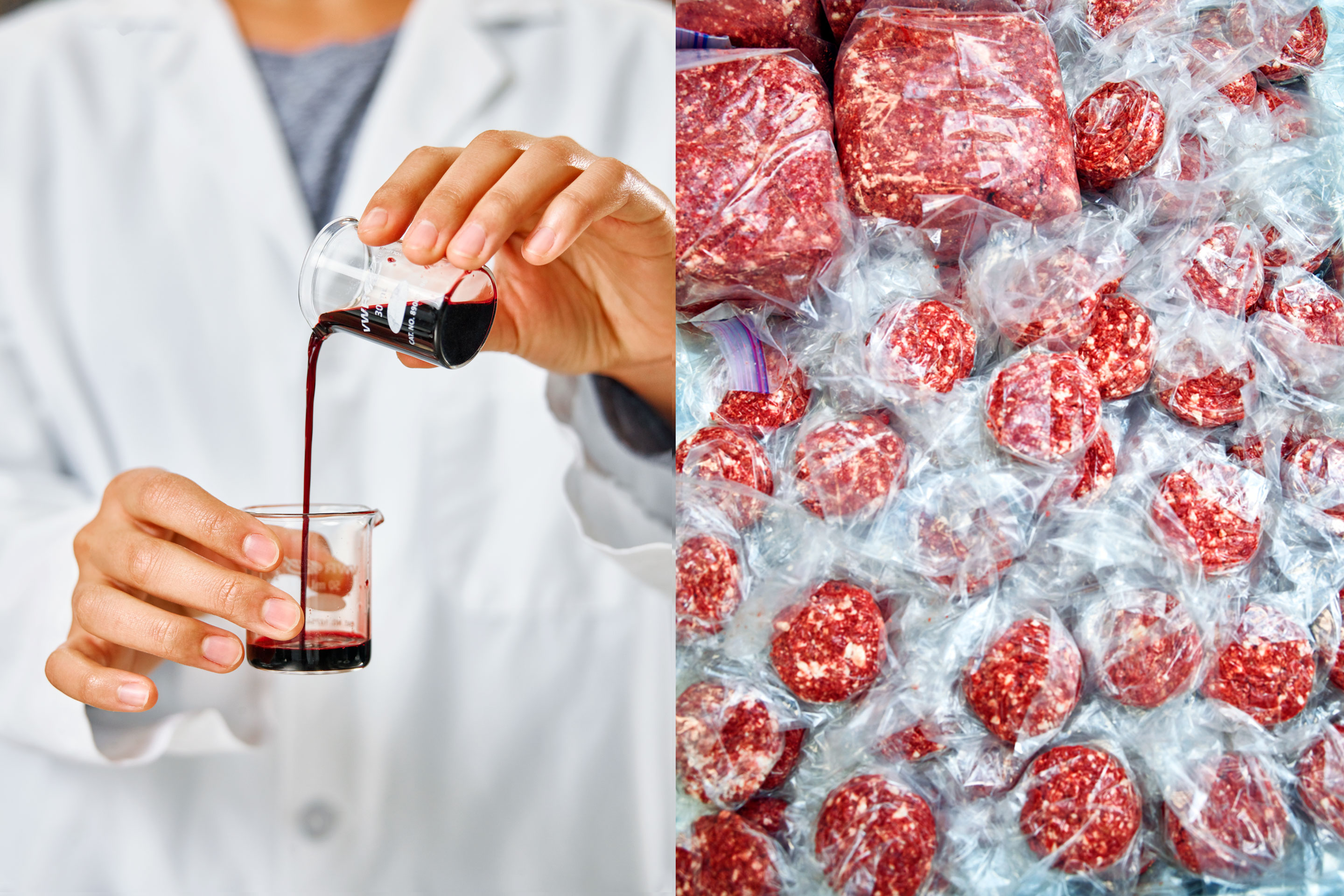 A technician pours heme—what Impossible Foods considers the essence of meat—at the company's lab in Redwood City, Calif. At right, the startup's plant-based meat patties.