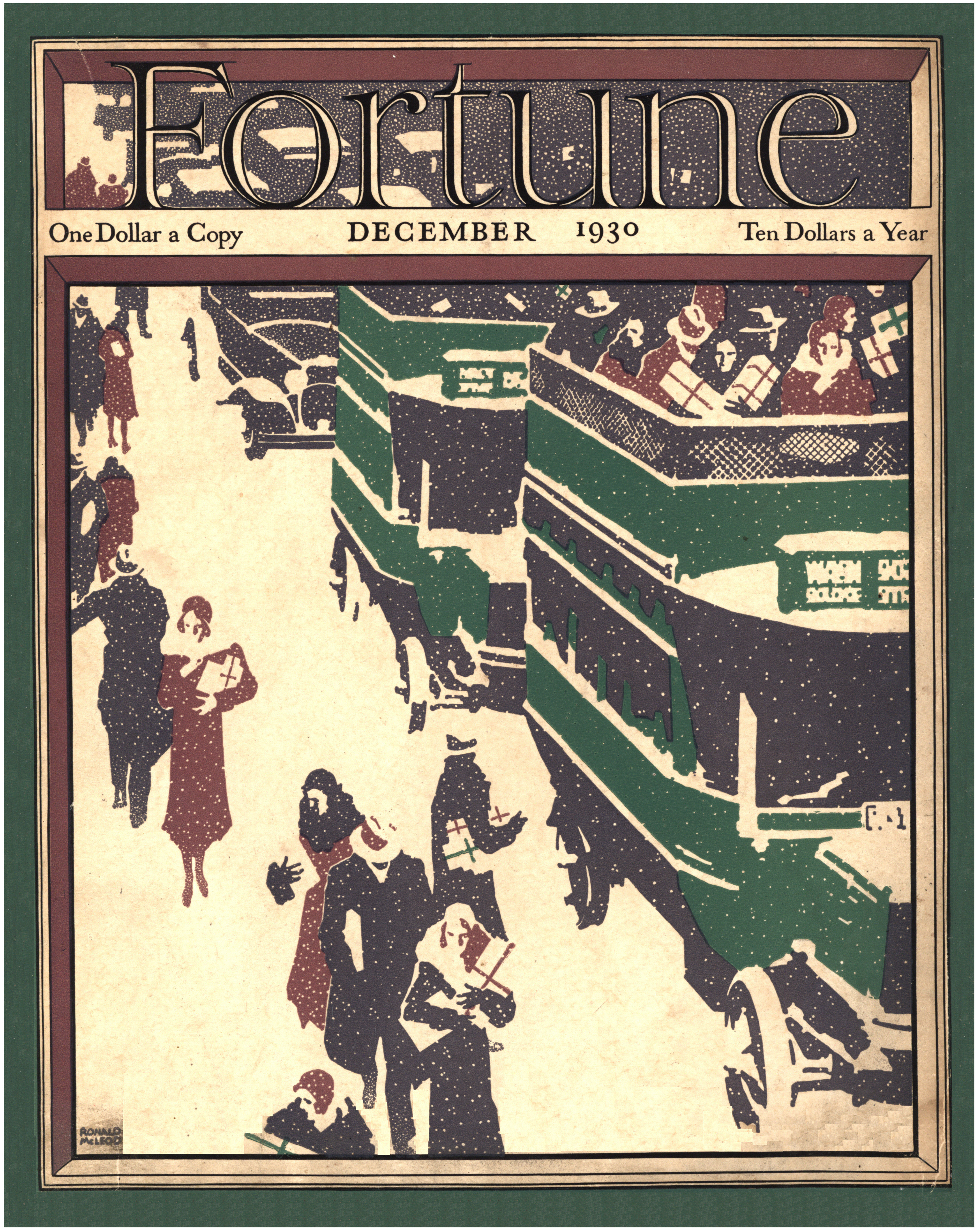 The illustrated cover of the Dec. 1930 issue of Fortune magazine.