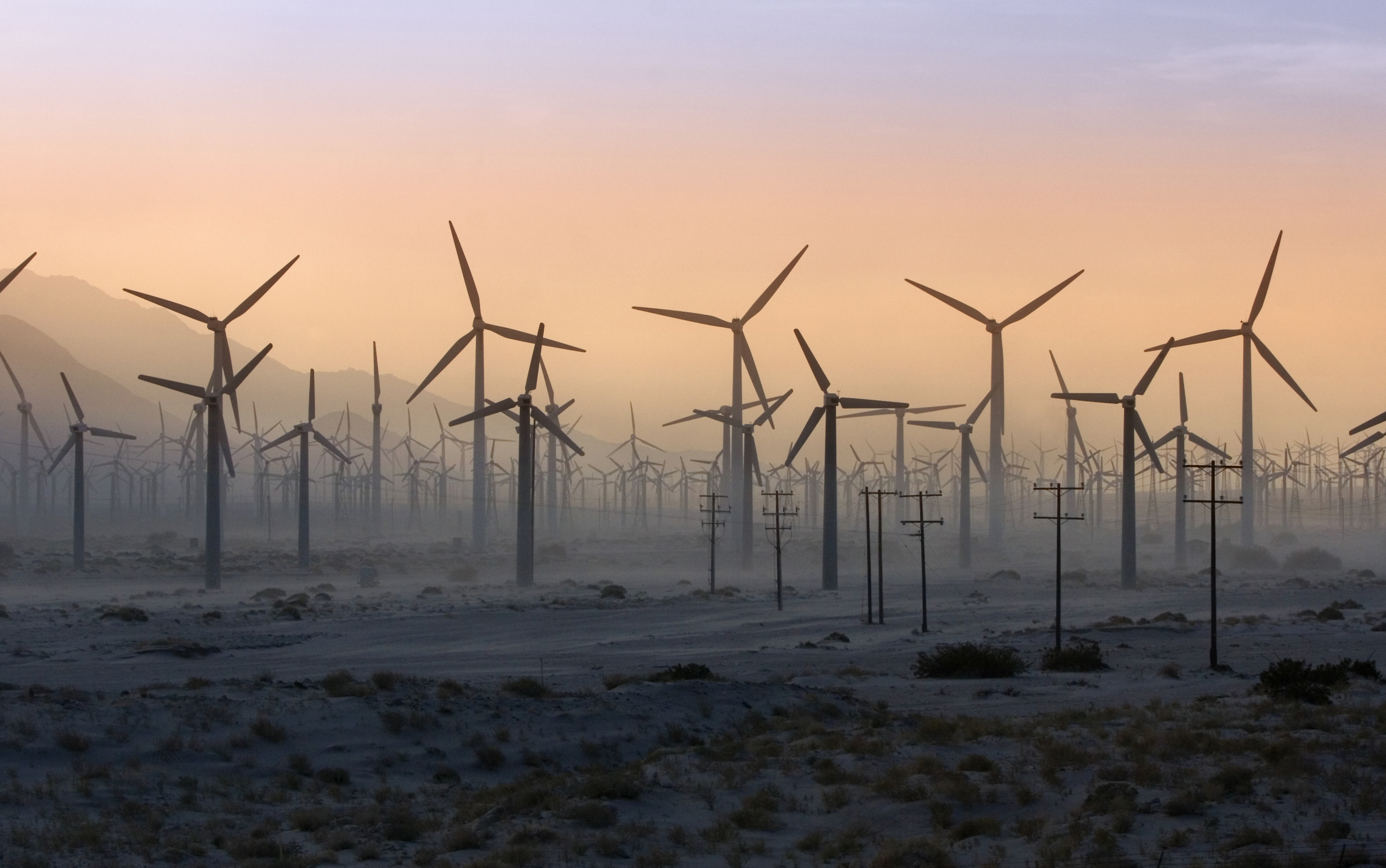 California, Palm Springs Wind Turbines in desert