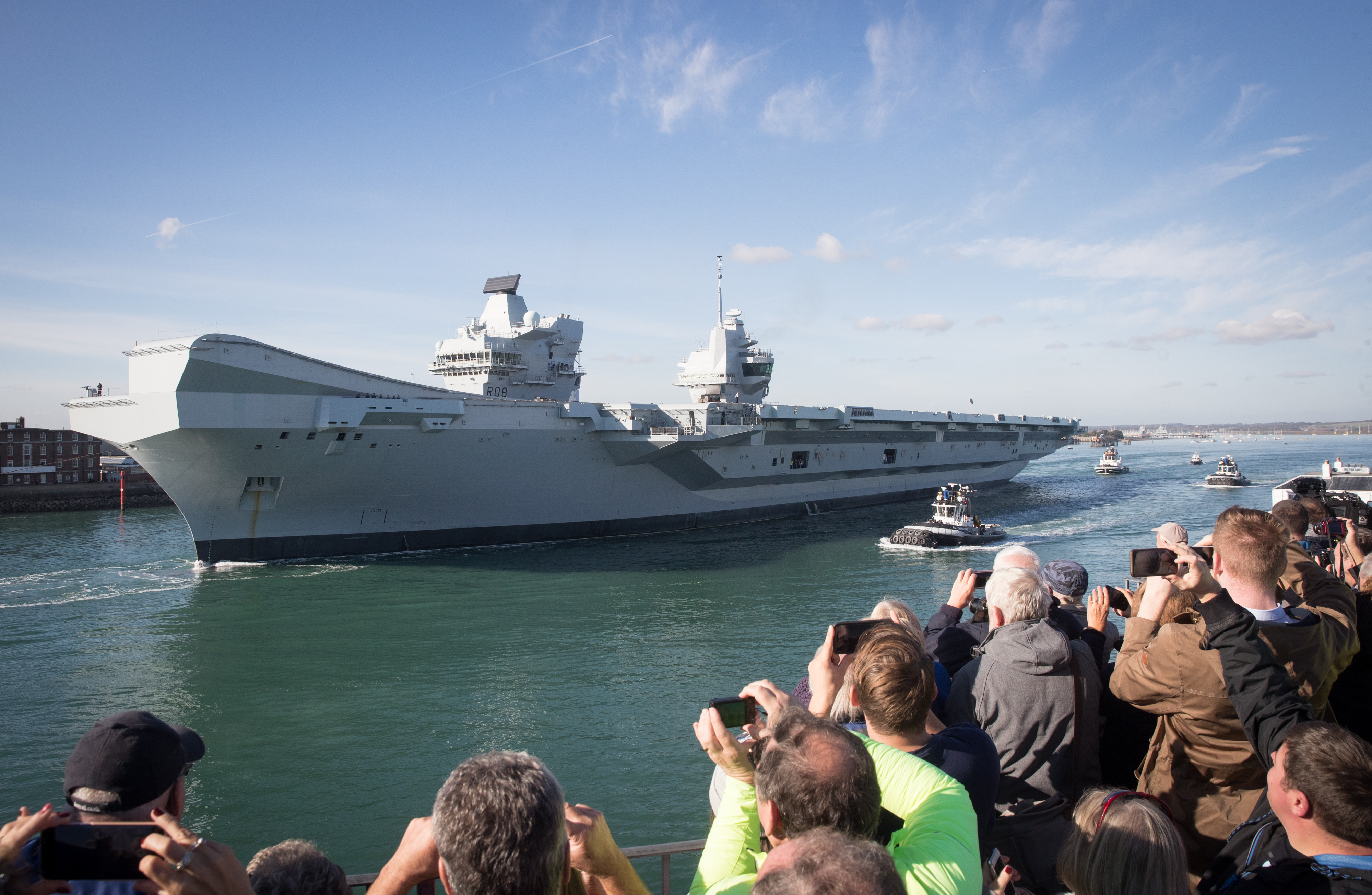 HMS Queen Elizabeth Departs Portsmouth Dockyard For Sea Trials