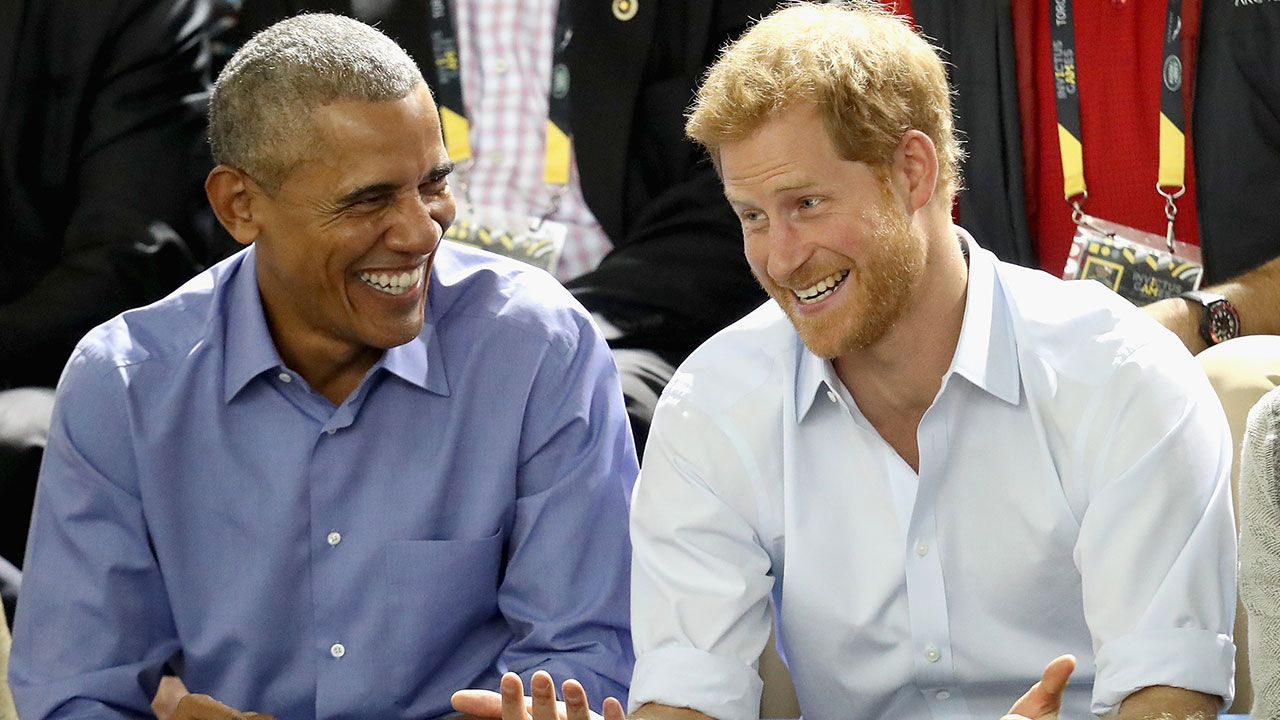Former U.S. President Barack Obama and Prince Harry share a joke on Sept. 29, 2017 in Toronto, Canada at the Invictus Games.