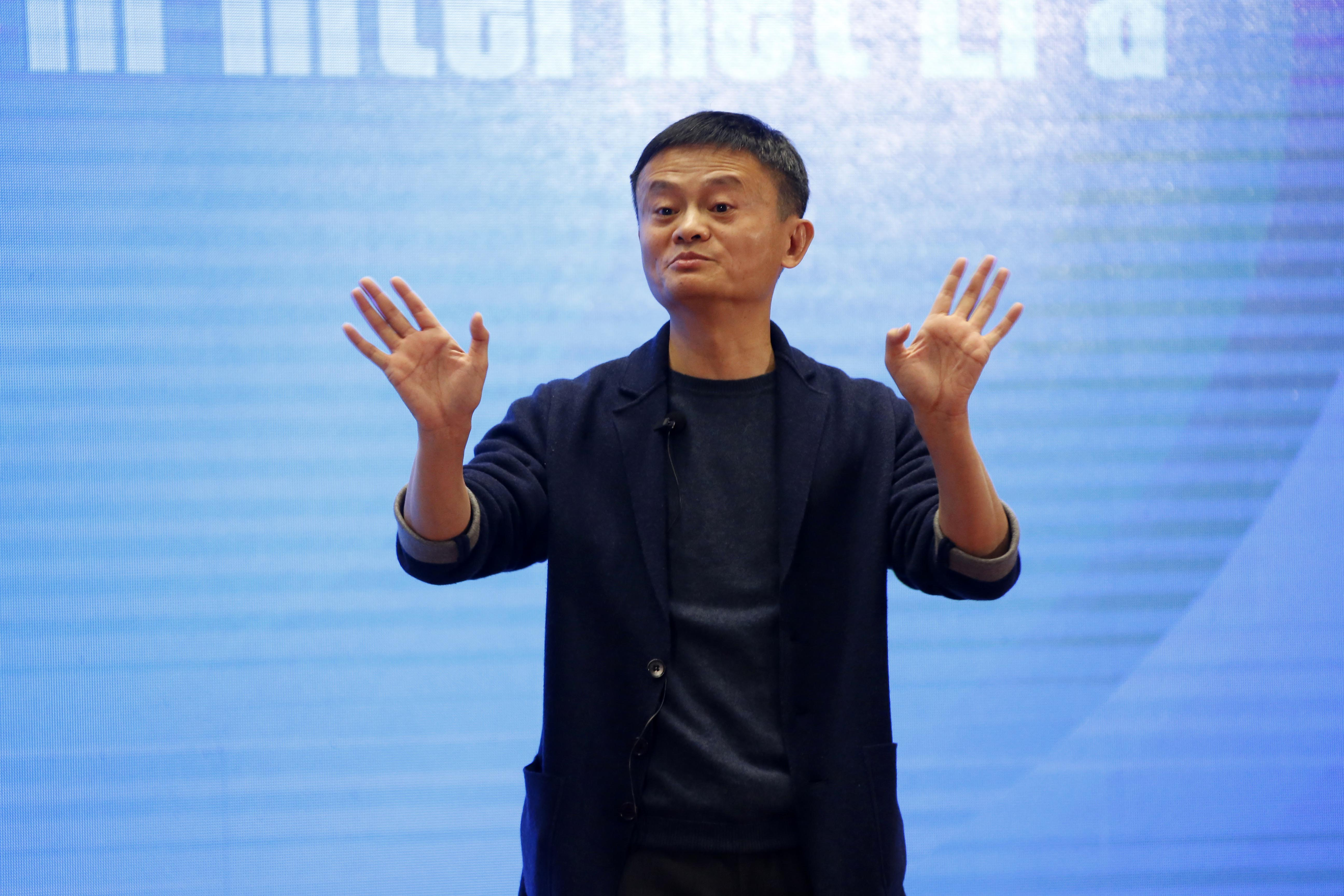 "Alibaba chairman Jack Ma speaks at the ""Business Leaders Dialogue: New Economy in Internet Era"" forum on day three of the 4th World Internet Conference on December 5, 2017 in Wuzhen, Zhejiang Province of China."