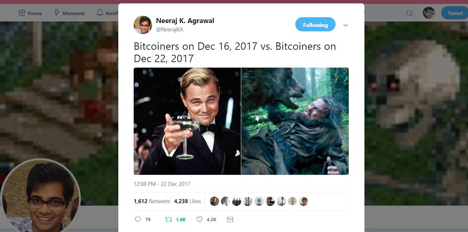 Coincenter's Neeraj Agrawal captures Bitcoin's wild swings with a classic meme.