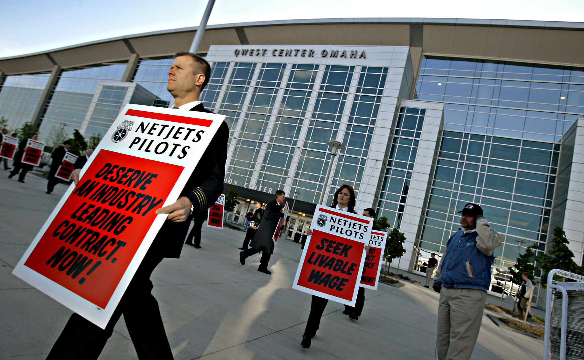 NetJet employees protesting outside Qwest Center in Omaha, Nebraska