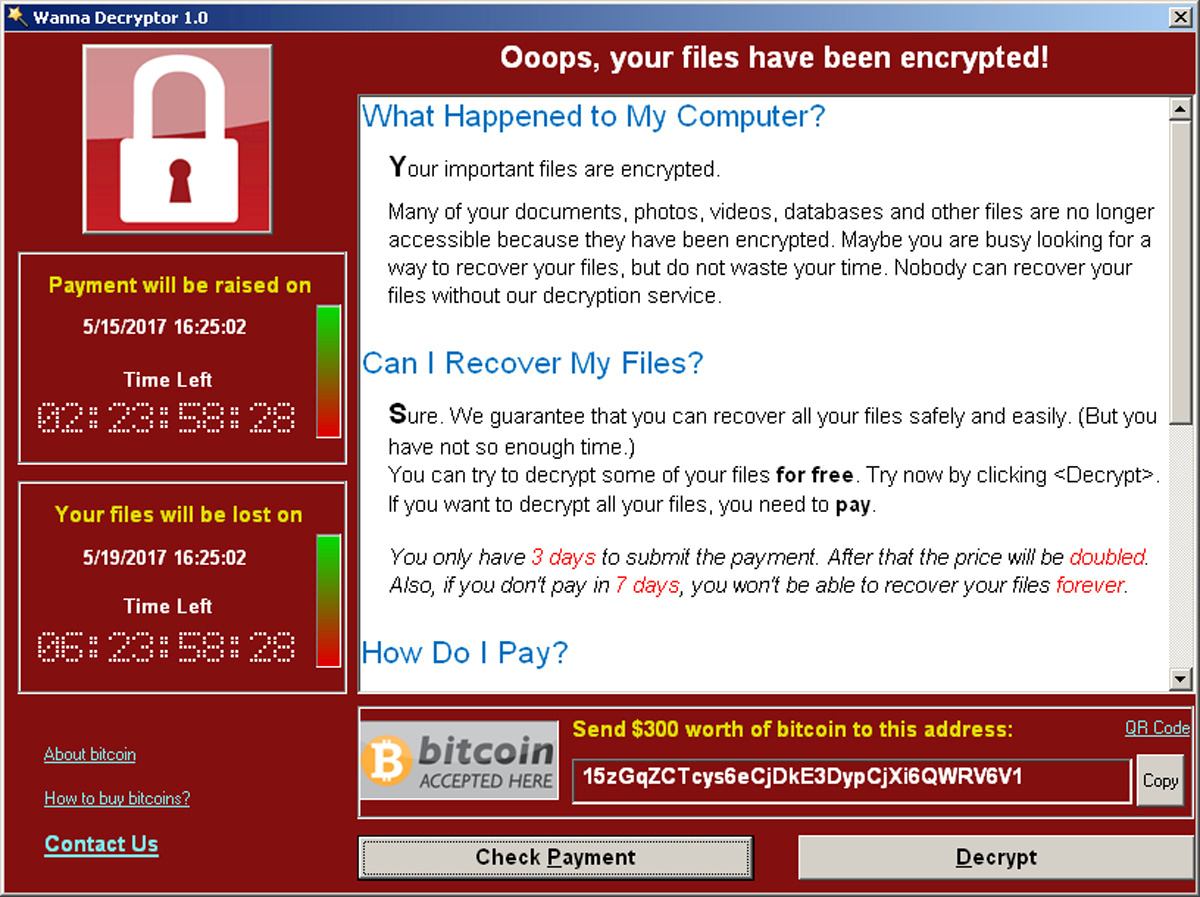 FILE PHOTO: A screenshot shows a WannaCry ransomware demand, provided by cyber security firm Symantec