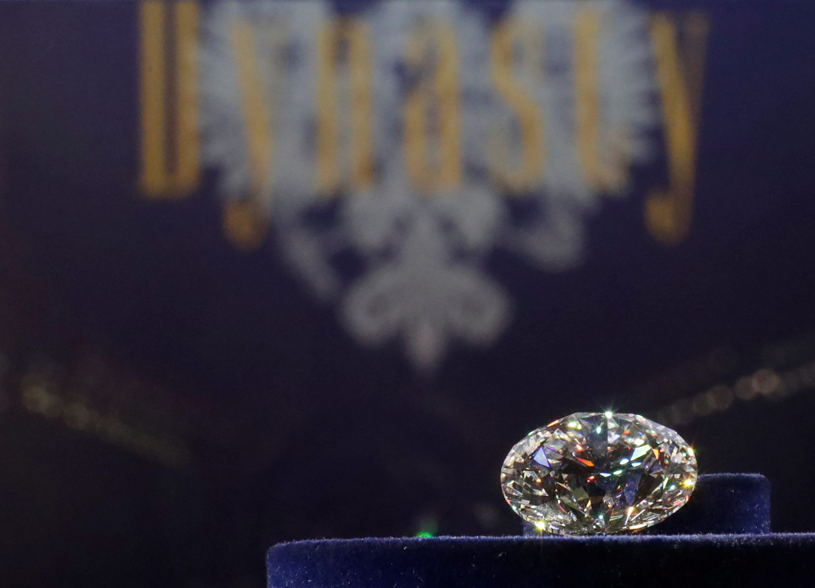 The main 51.38-carat diamond is on display during Russian miner Alrosa's presentation of the Dynasty polished diamonds collection in Moscow