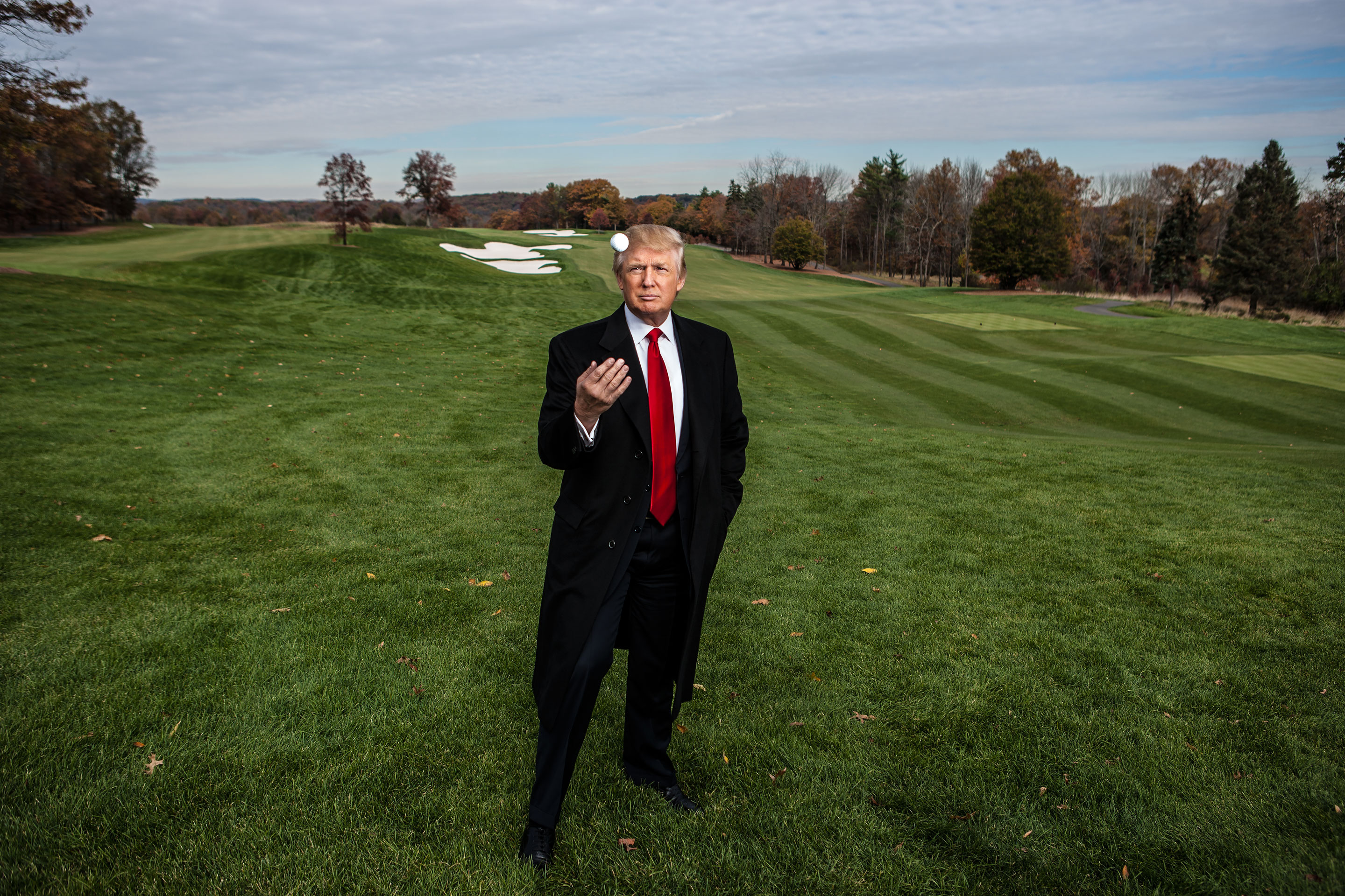Donald Trump at his ­Bedminster, N.J., golf club in 2006. He took a $39 million tax deduction on the property under the conservation easement law.