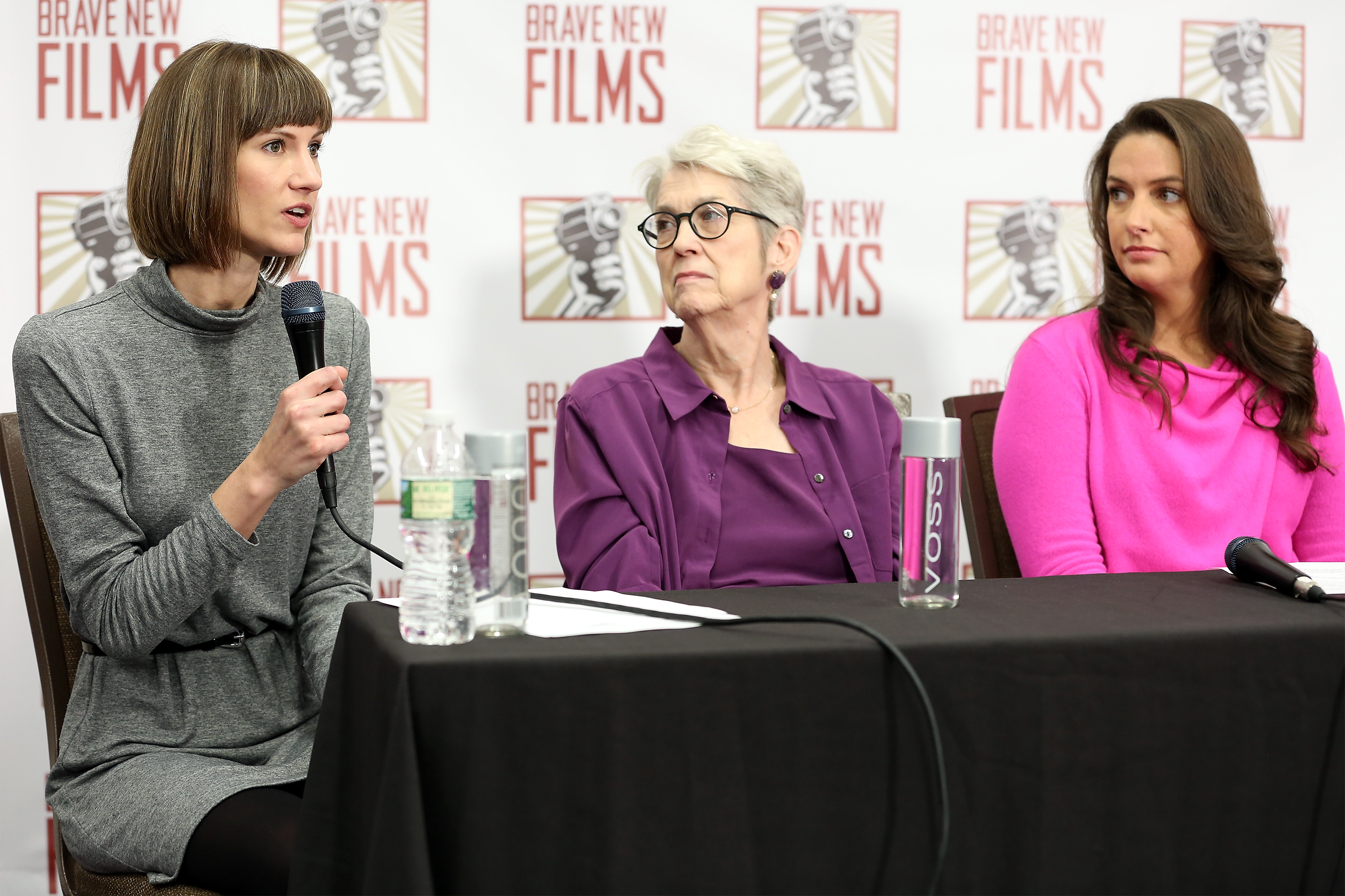 Rachel Crooks, Jessica Leeds, and Samantha Holvey speak during the press conference held by women accusing President Donald Trump of sexual harassment on December 11, 2017 in New York City.