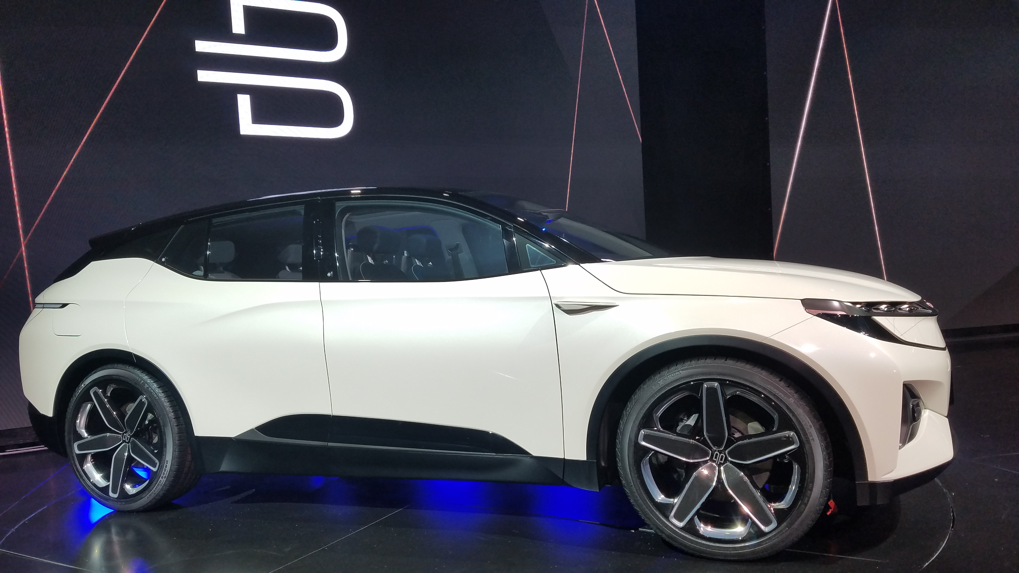 Byton, a Chinese-based electric vehicle company, unveiled its concept SUV on the opening media day at CES 2018.