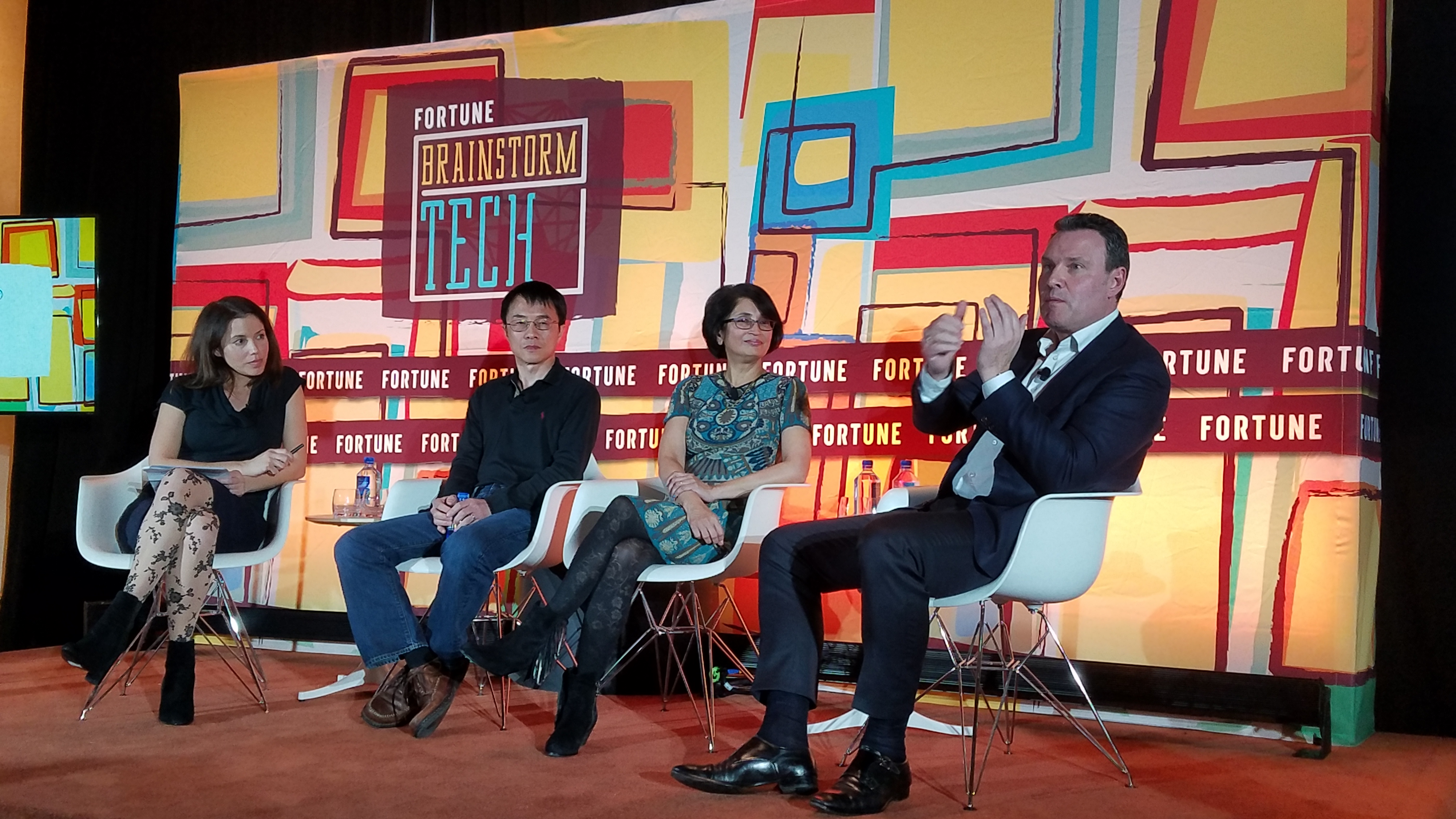 Fortune's Michal Lev-Ram talks to Baidu Group President and COO Qi Lu, HERE CEO Edzard Overbeek, and NIO USA CEO Padmasree Warrior about the future of autonomous vehicles at Fortune's Brainstorm Tech dinner Jan. 8, 2018 in Las Vegas.