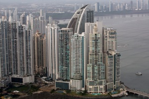 Buildings stand in the skyline, including the Trump Ocean C