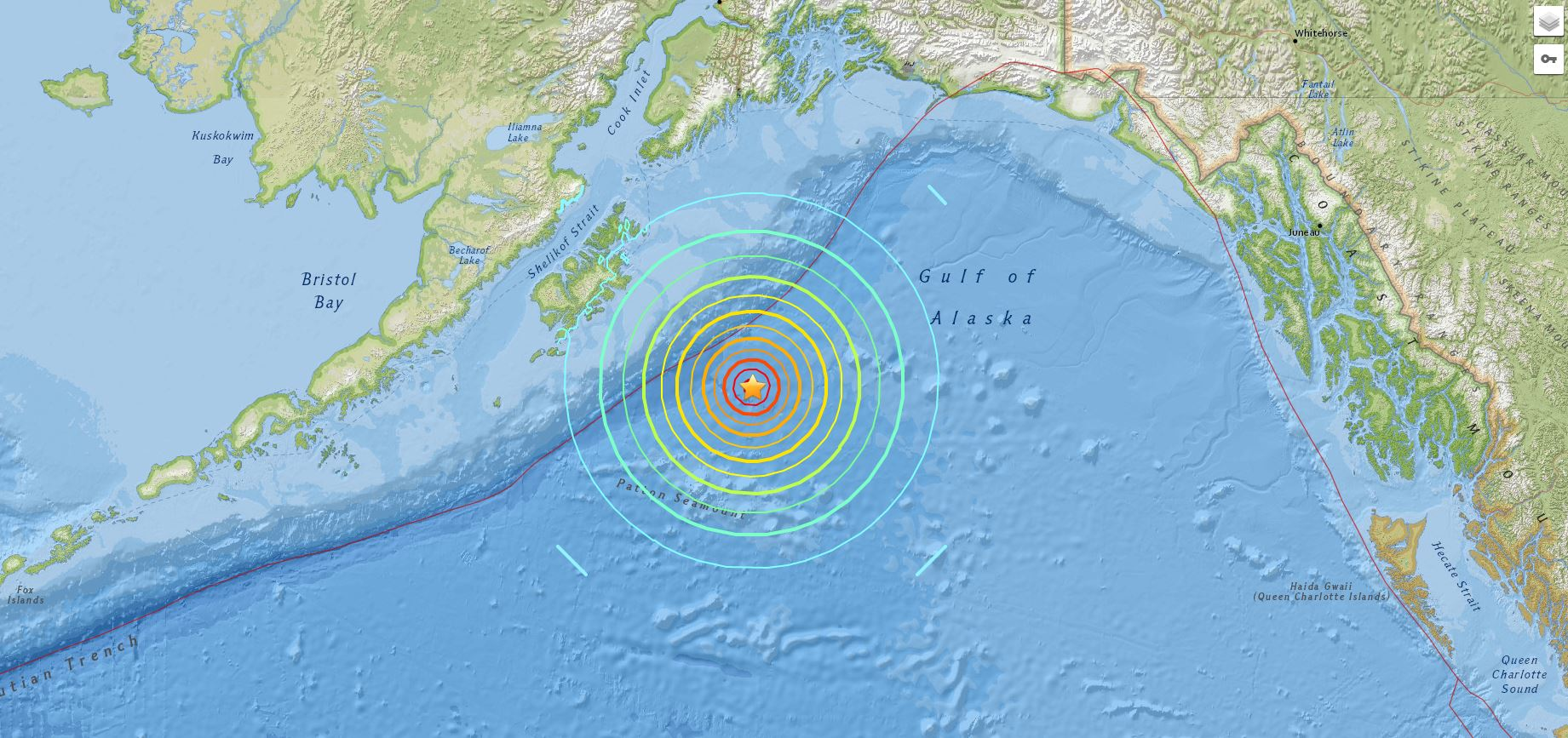 Map of Alaskan earthquake