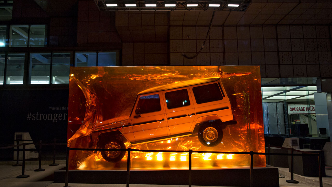 A Mercedes-Benz G-Class was encased in resin and put on display at the 2018 North American International Auto Show in Detroit.