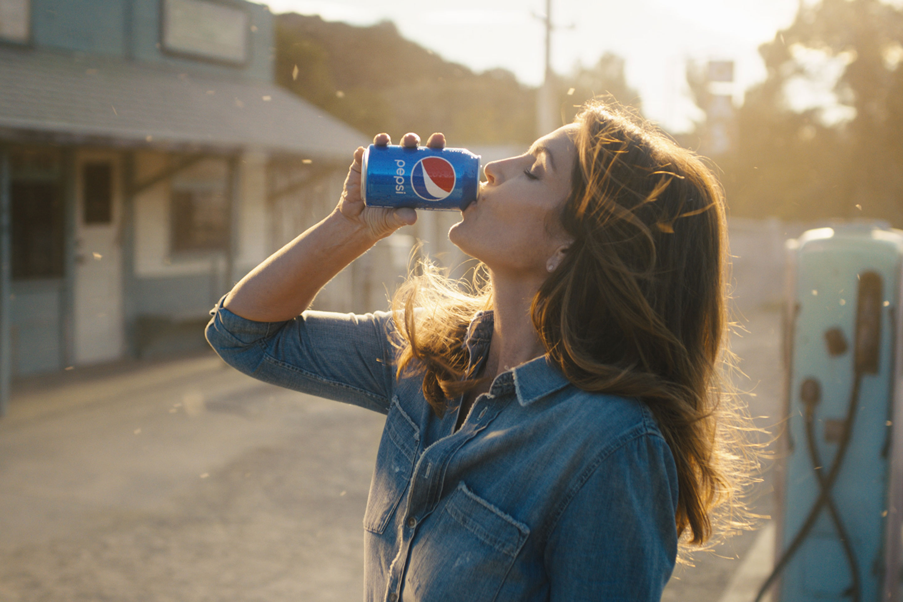 A still image from Pepsi's Super Bowl ad featuring Cindy Crawford.
