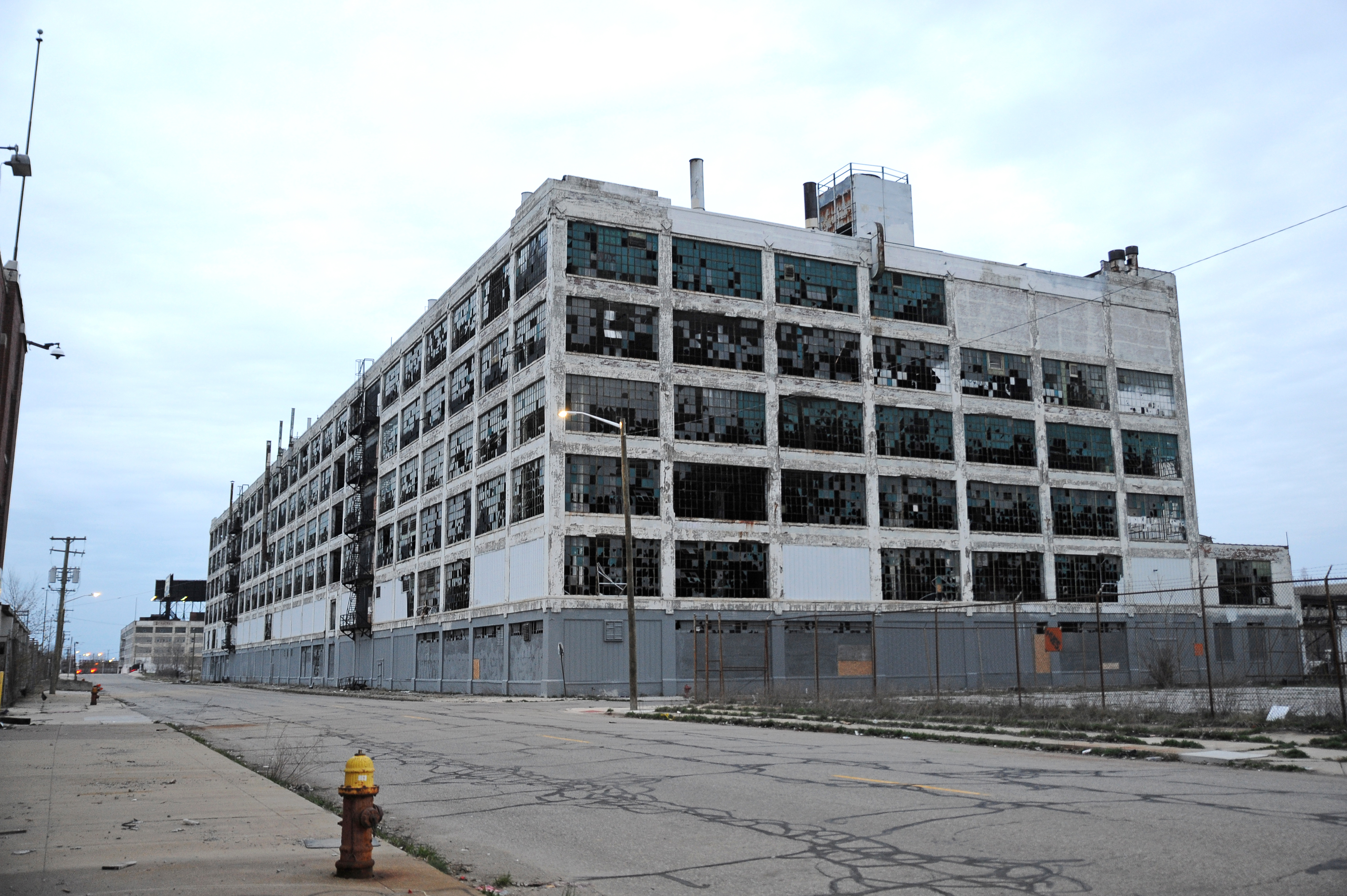 The abandoned Packard auto assembly plant stands in Detroit, Michigan, USA on April 13, 2017.