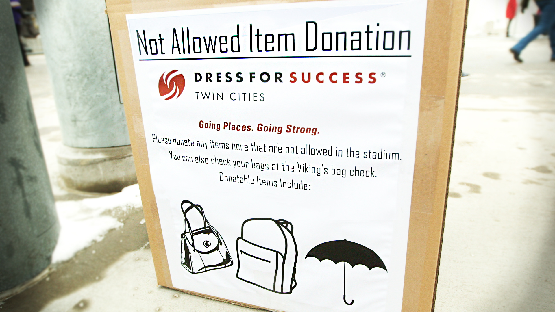 Fans will be encouraged to donate items that they're not allowed to bring into the stadium.