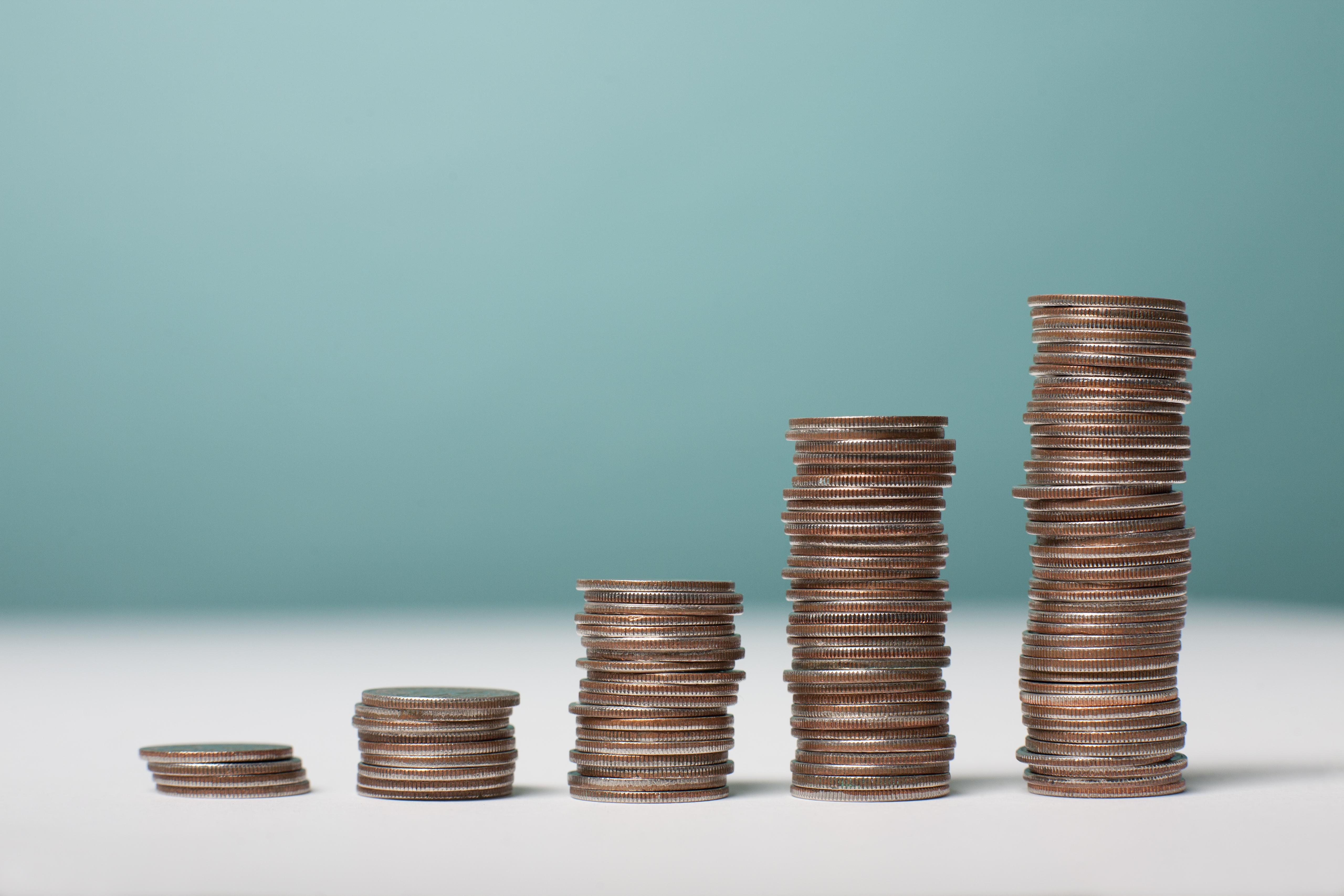 Studio shot of stacks of coins