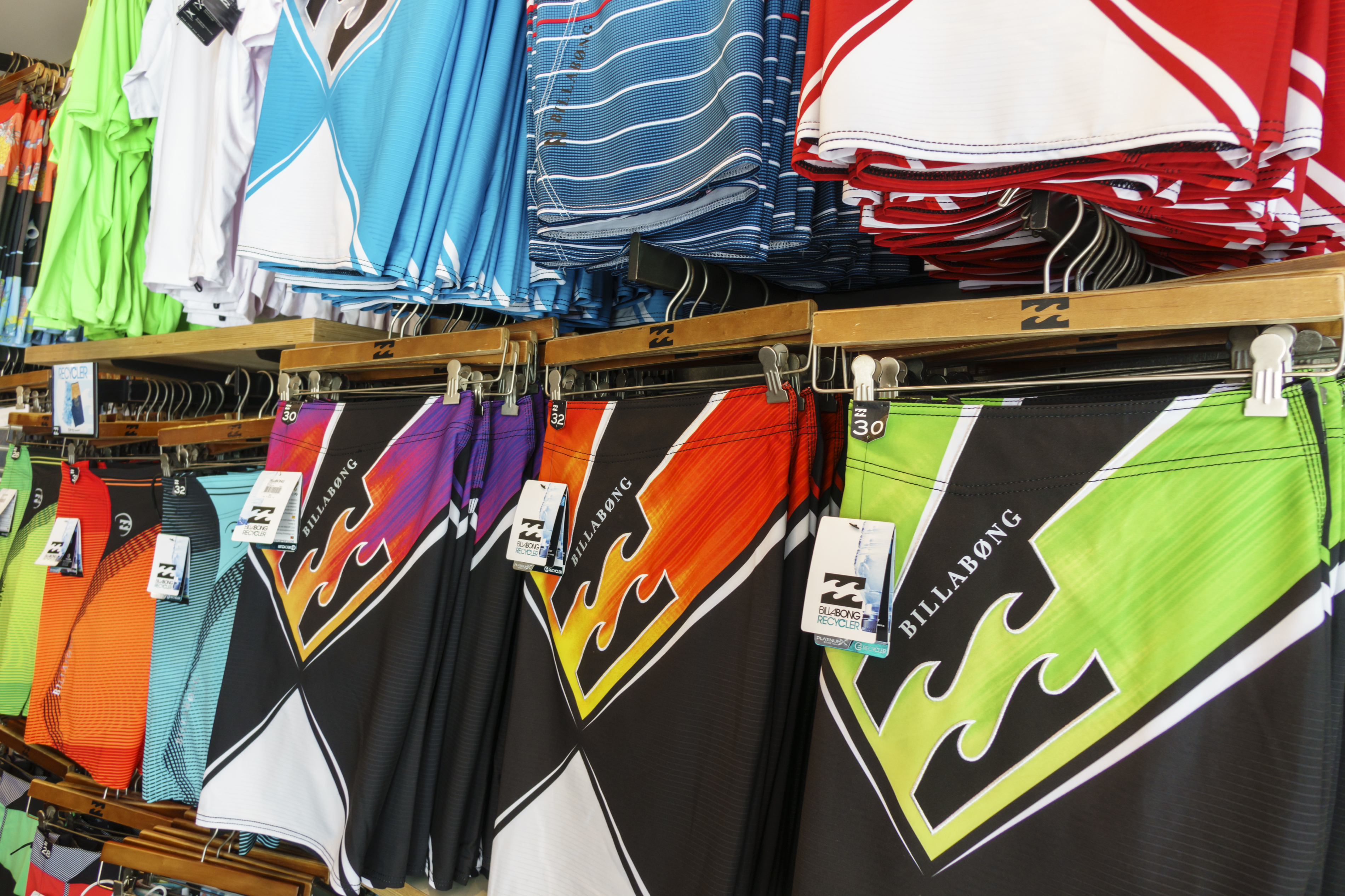 Swimming trunks for sale at a store on Kalakaua Avenue.