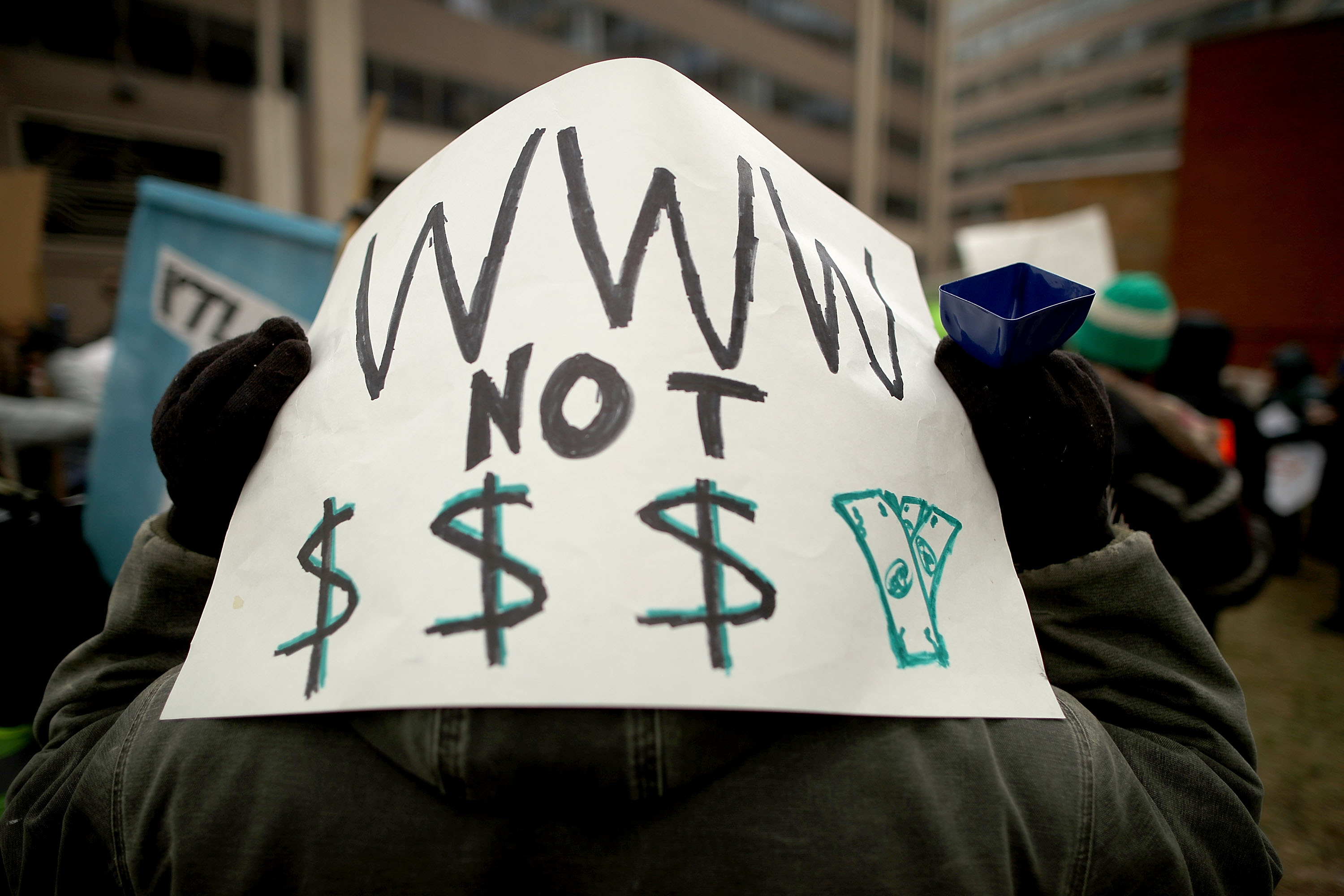 Protestors Rally At FCC Against Repeal Of Net Neutrality Rules