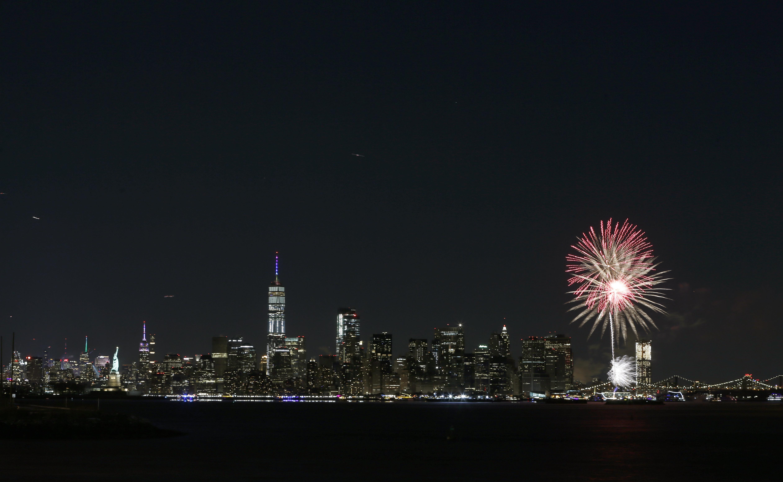 Fireworks Mark New Year's Eve Over New York Harbor