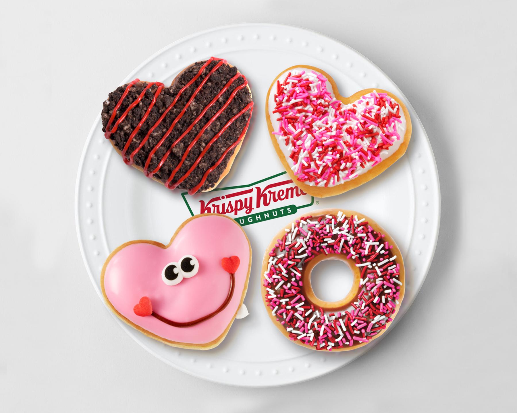 Krispy Kreme Valentine's Day doughnuts.