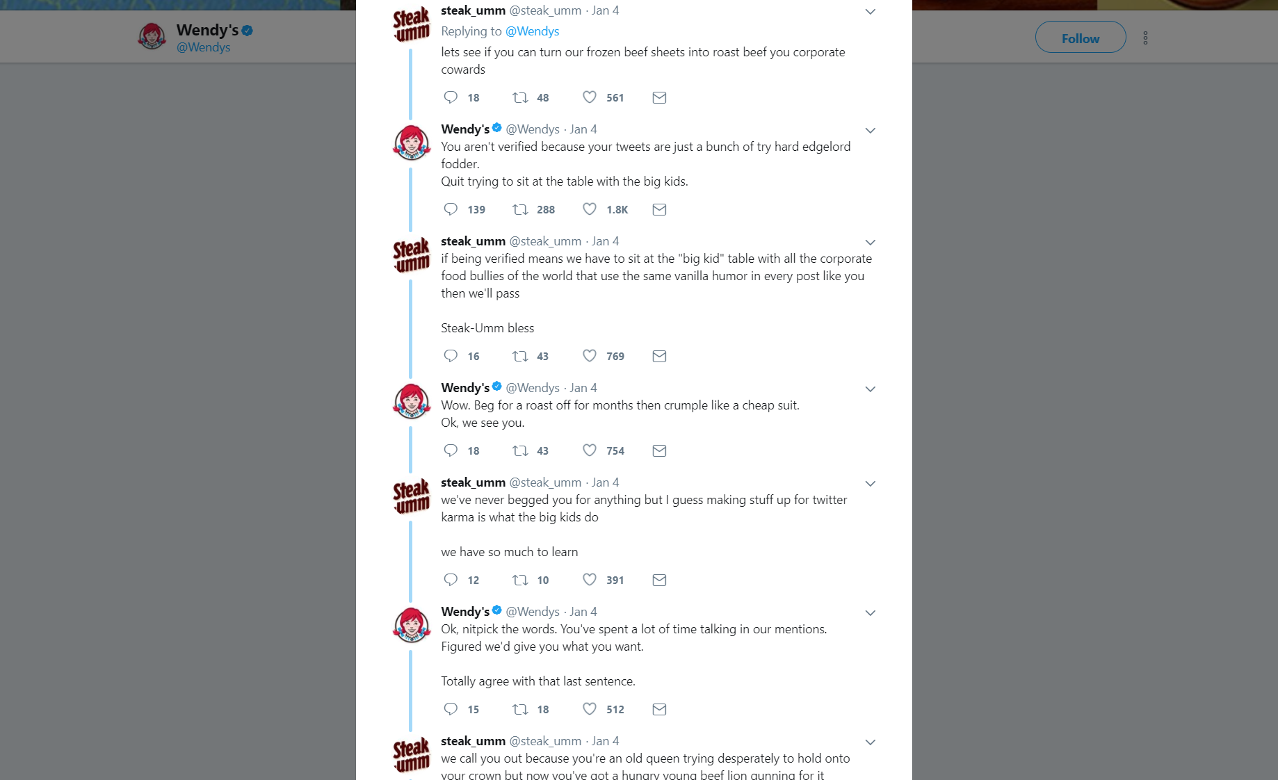 Wendy's and Steak-Umm, fighting on Twitter.