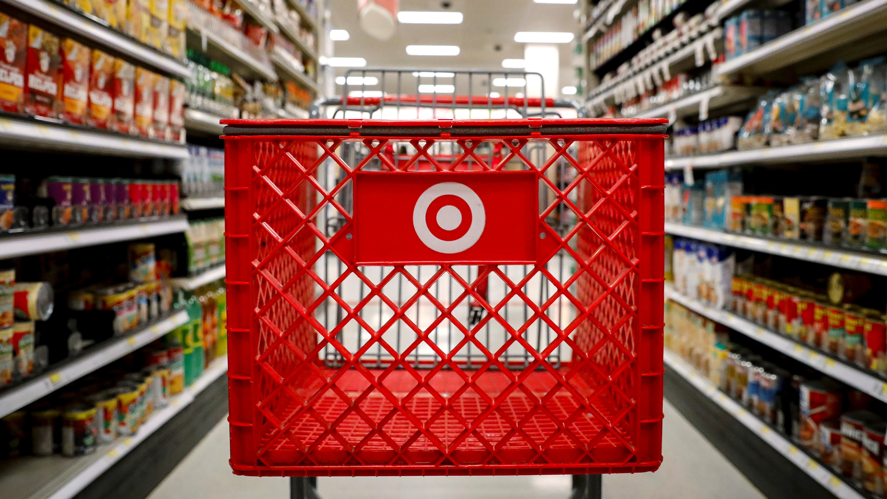 A shopping cart is seen in a Target  store in the Brooklyn borough of New York