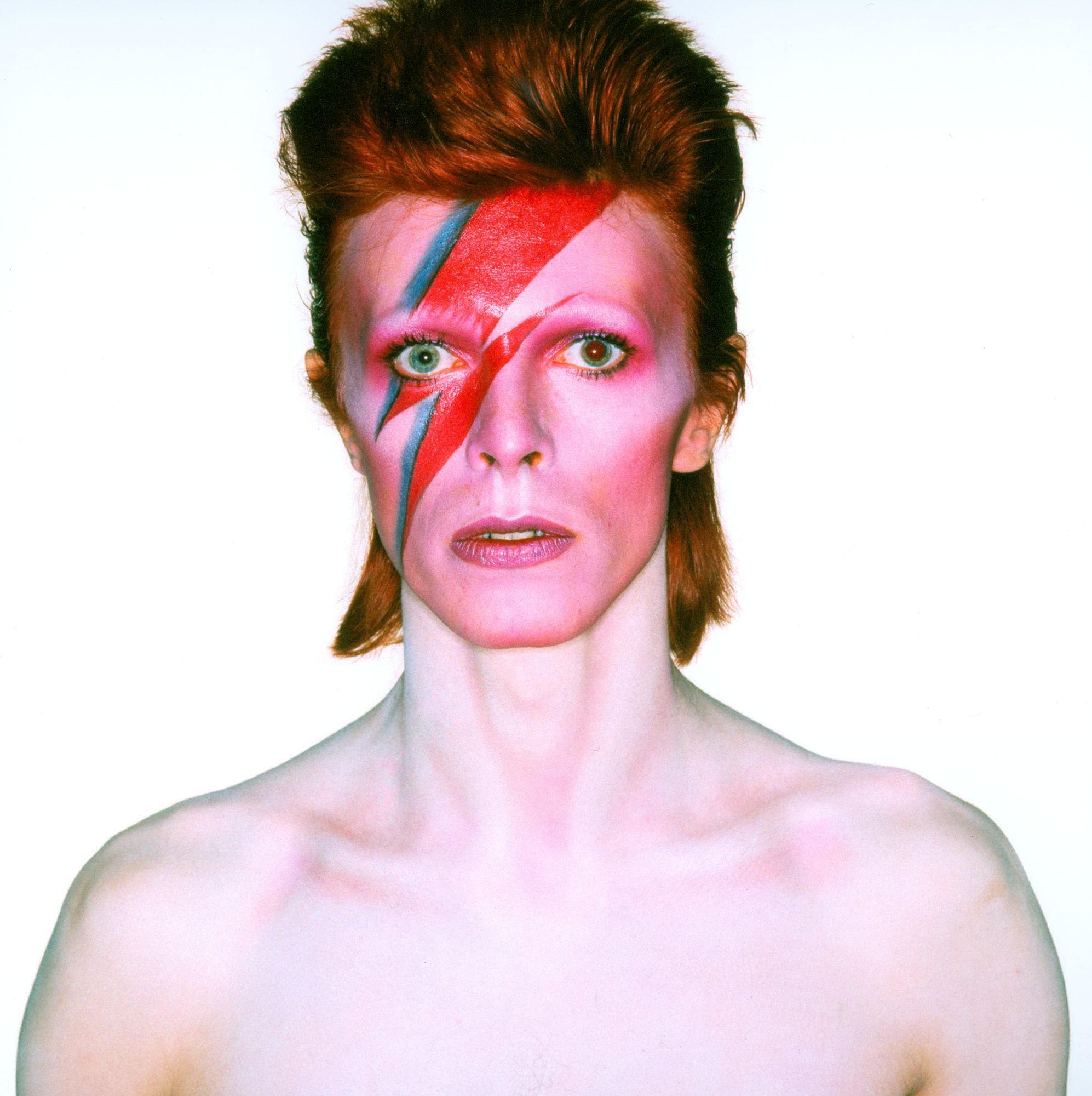 Photograph from the album cover shoot for Aladdin Sane, 1973. Photo Duffy © Duffy Archive & The David Bowie ArchiveThe image is not to be reproduced at a size larger than A5 (5.83 x 8.27 inches) without prior permission.This image must be deleted from caches after use.