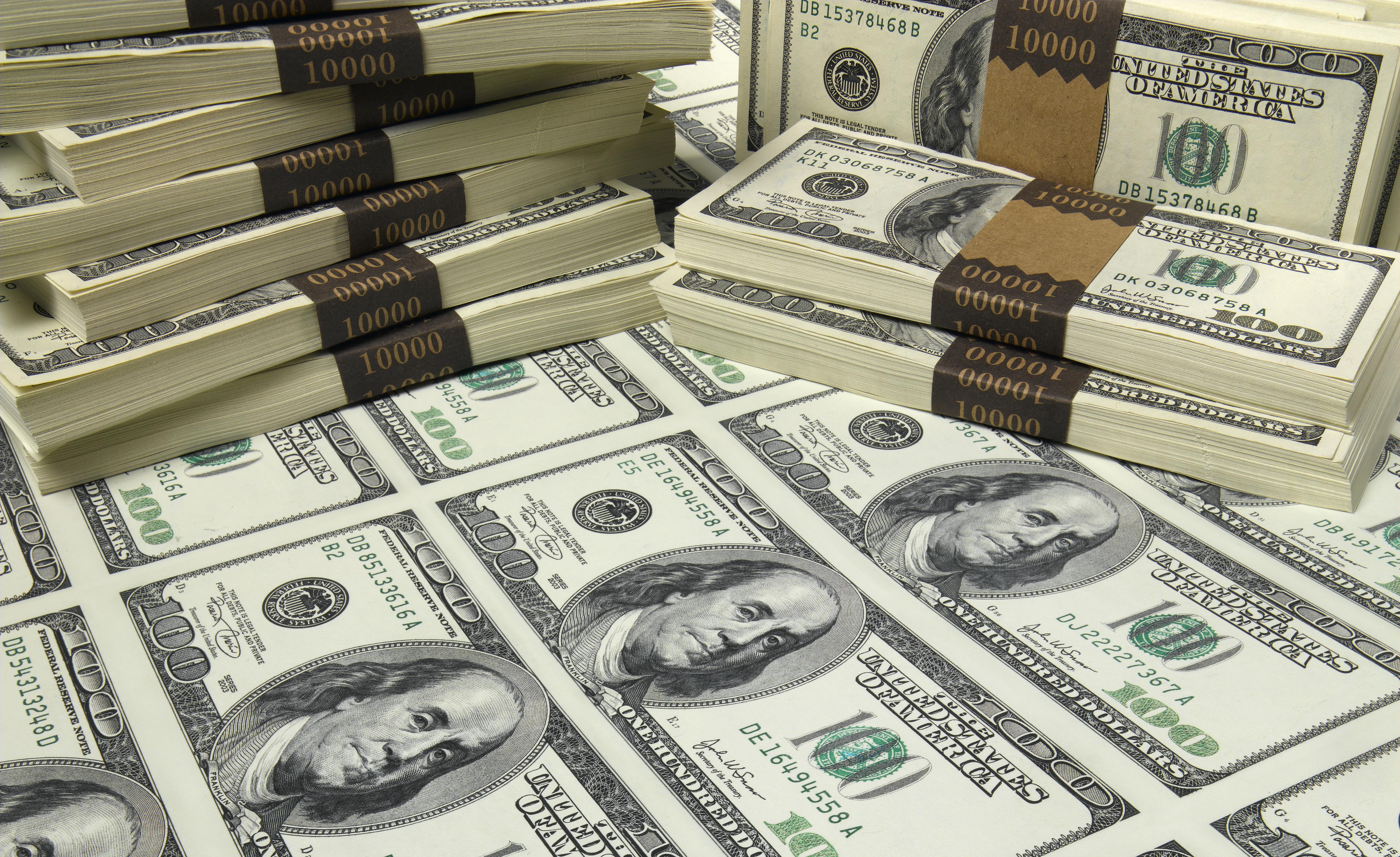 Stacks of 100-dollar bills
