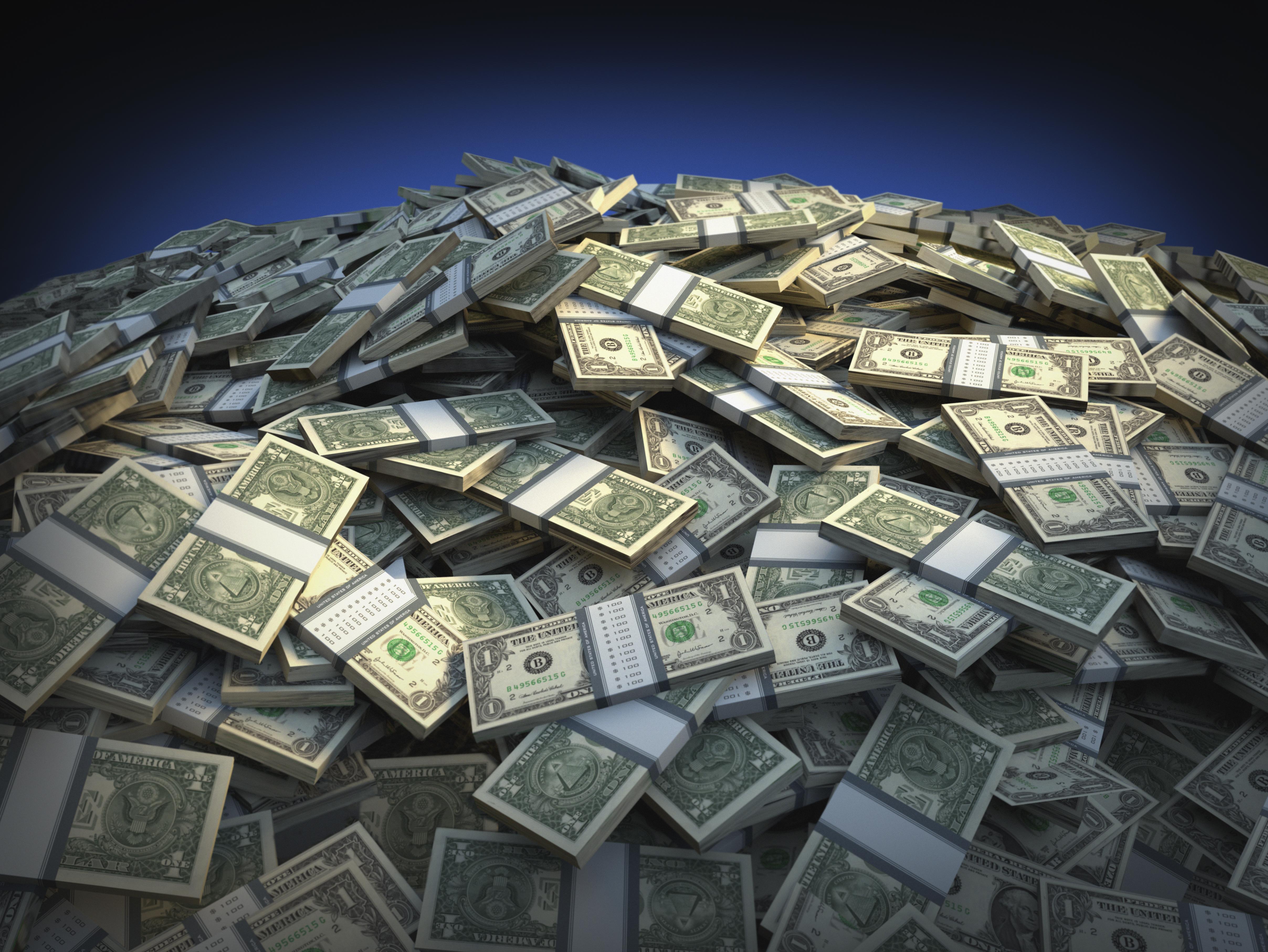 Bundles of one dollar bills