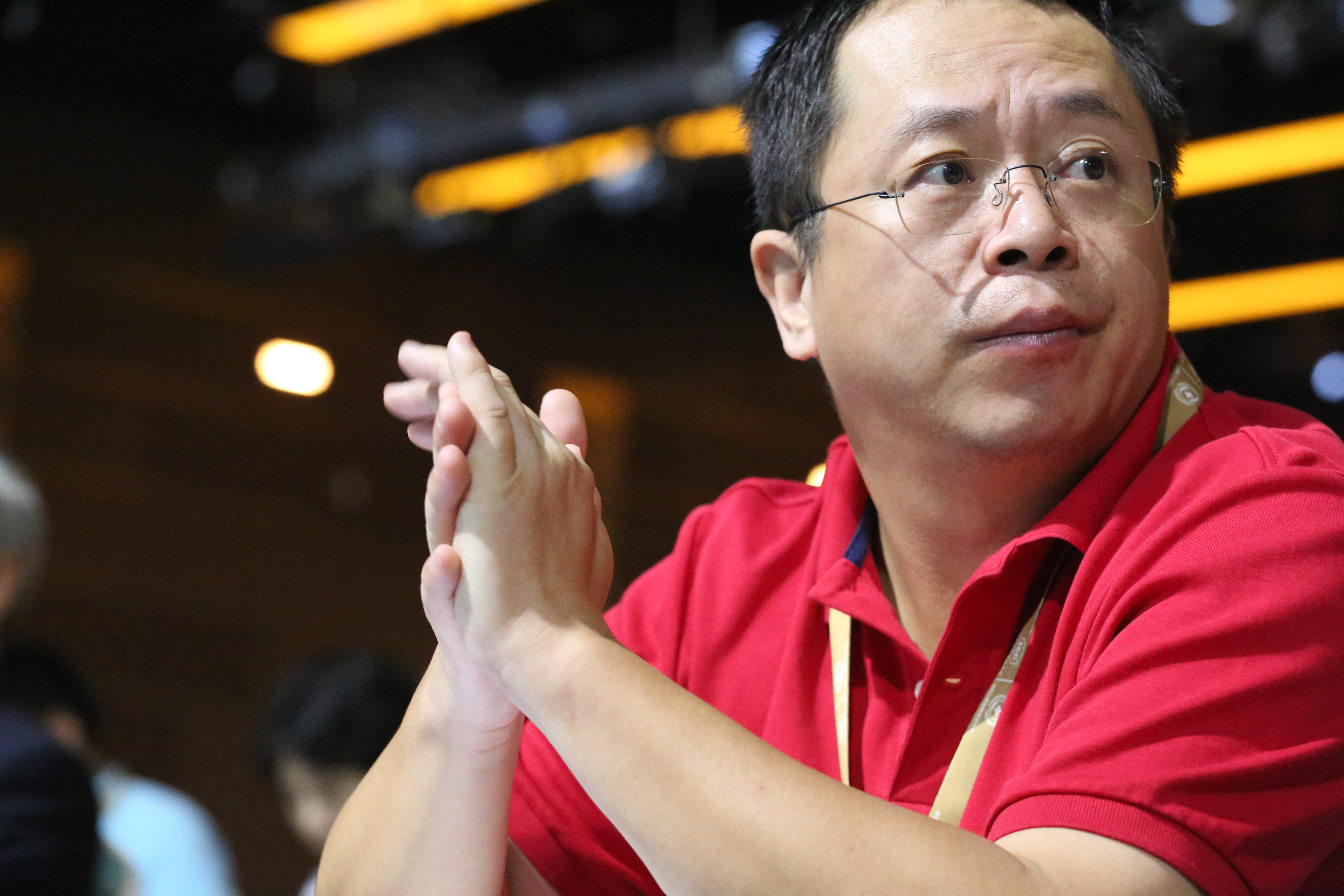 Zhou Hongyi, CEO of 360 Security Technology, appears at a conference in Beijing.