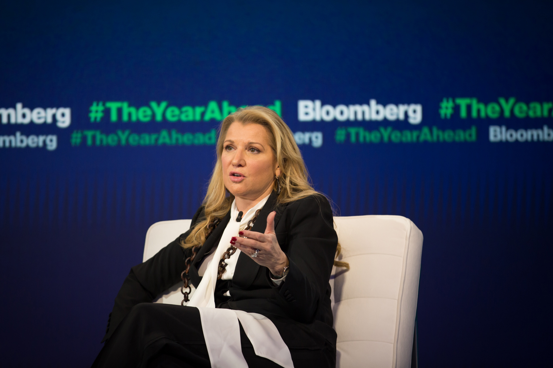 Weight Watchers CEO Mindy Grossman speaks on-stage at a Bloomberg event