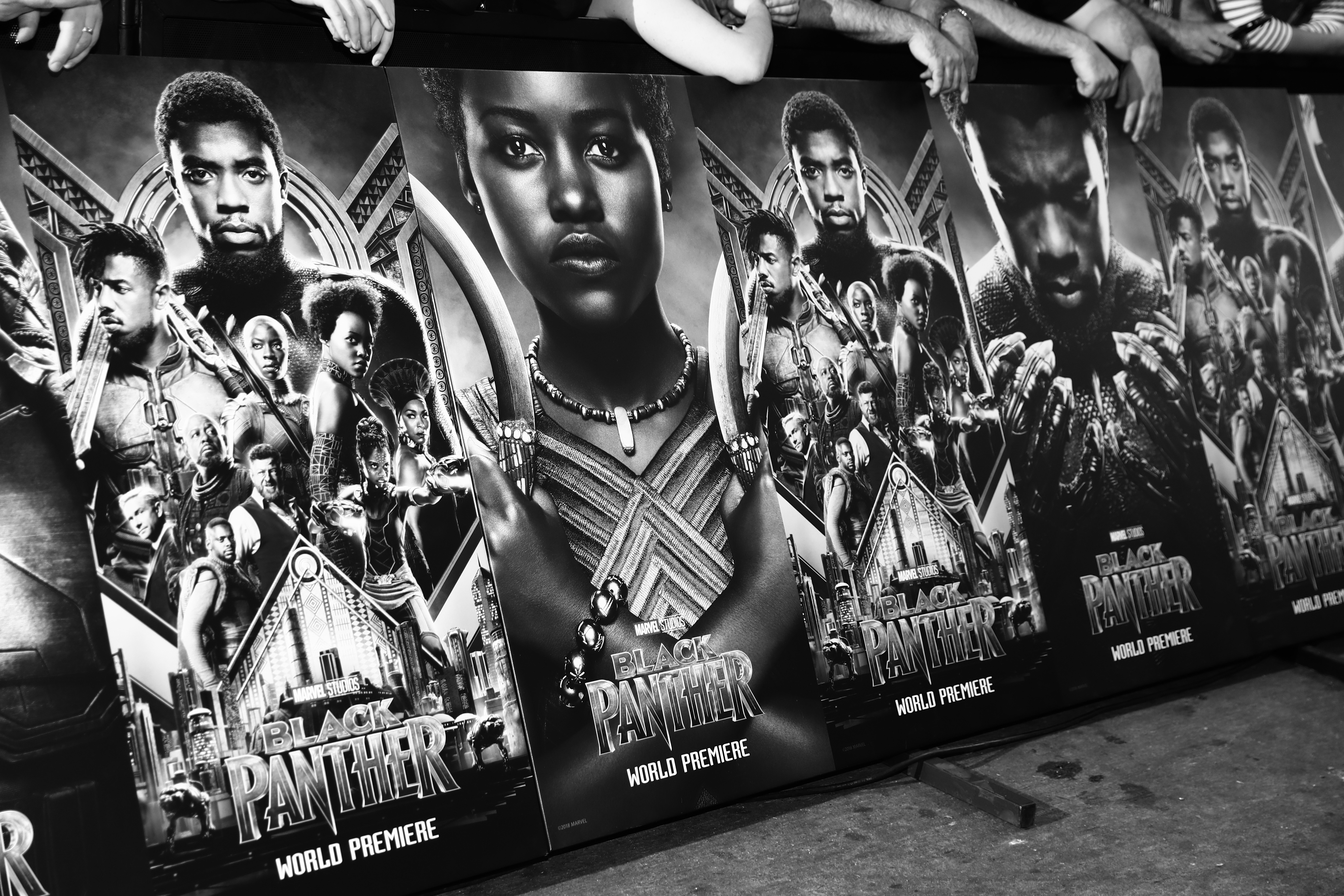 Black Panther Movie Poster in Black and White