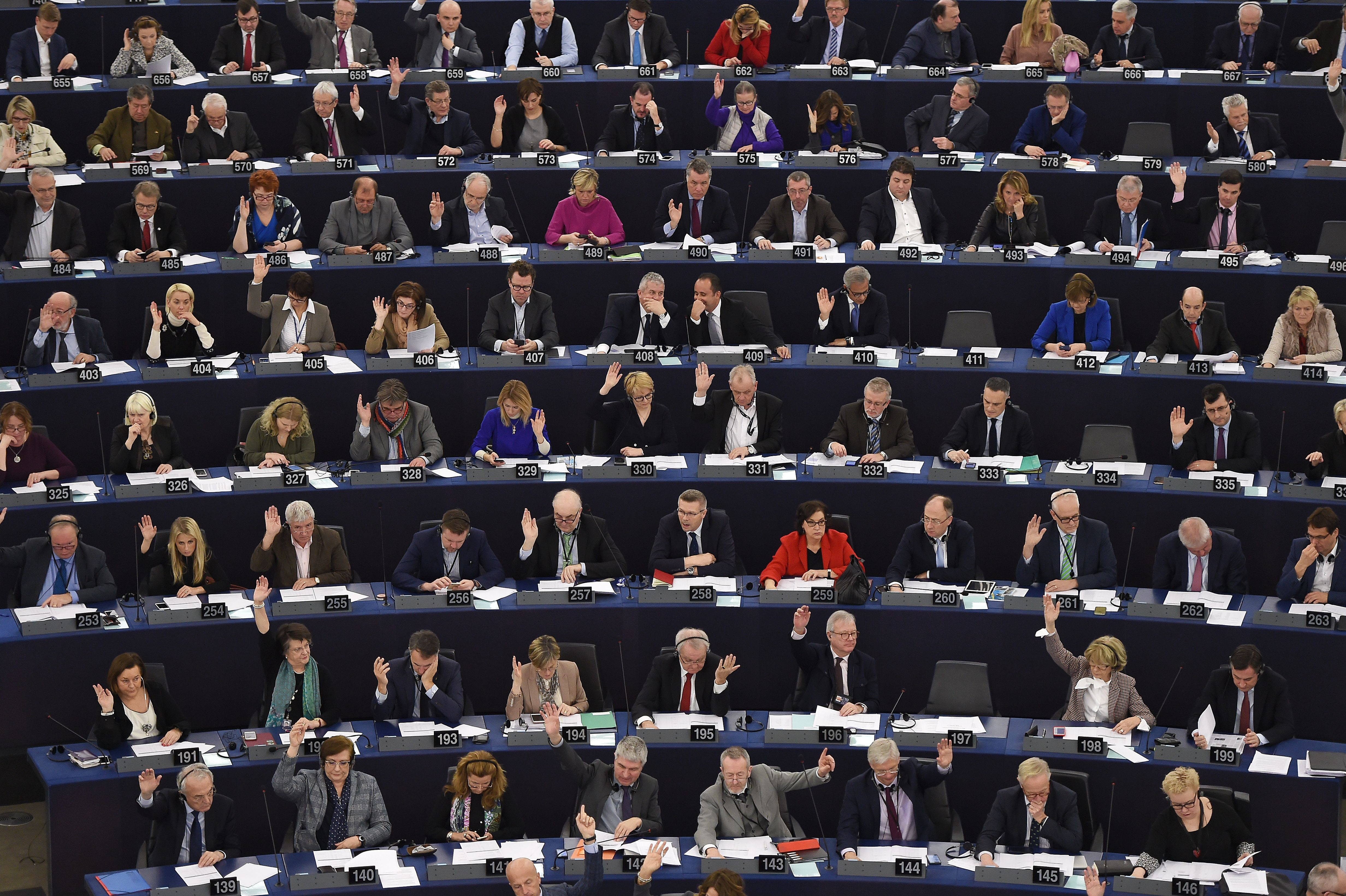 Members of the European Parliament take part in a voting session at the European Parliament.