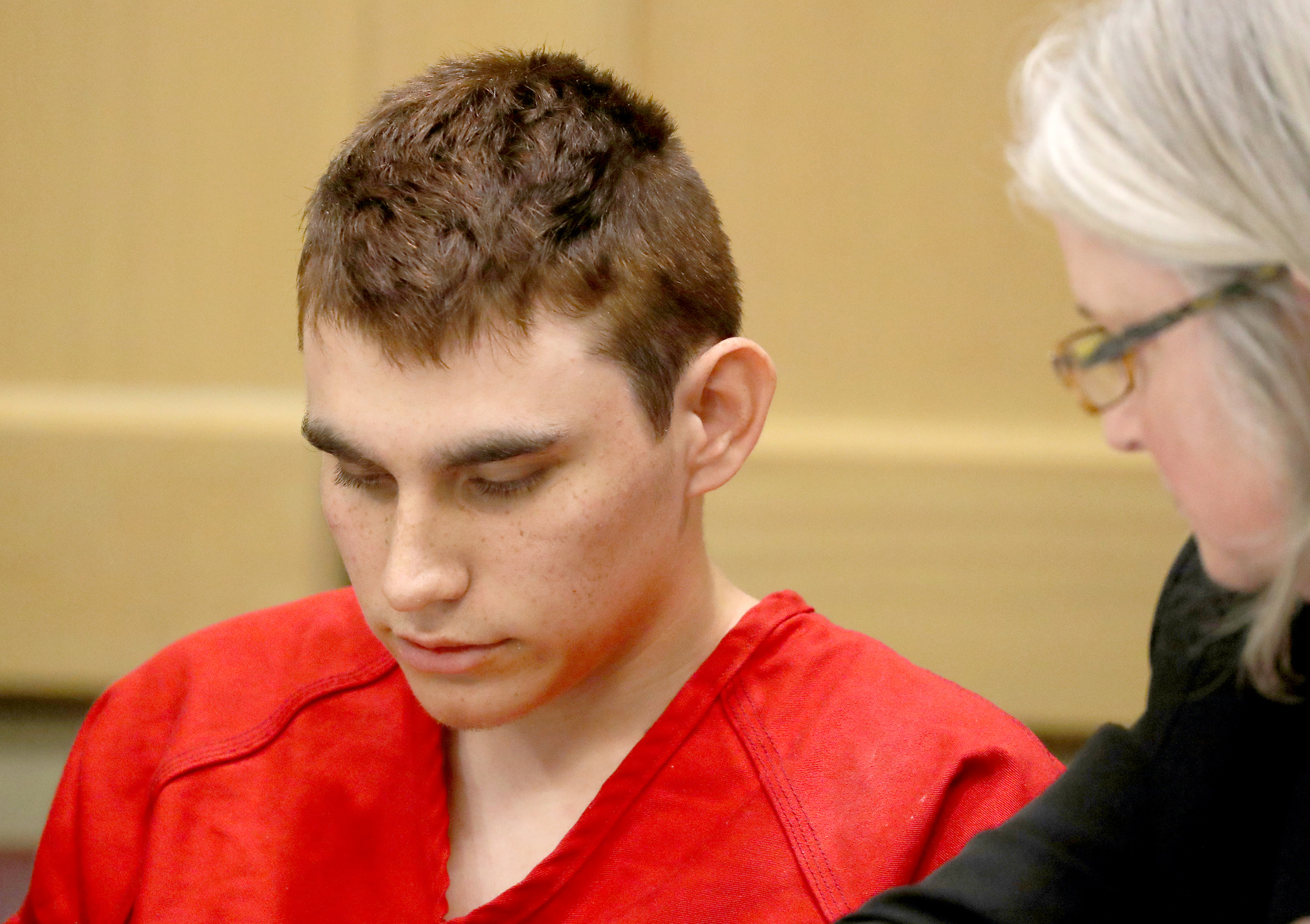 Nikolas Cruz, who faces 17 charges of premeditated murder in the mass shooting at Marjory Stoneman Douglas High School in Parkland, Fla., appears in court for a status hearing on Feb. 19, 2018.