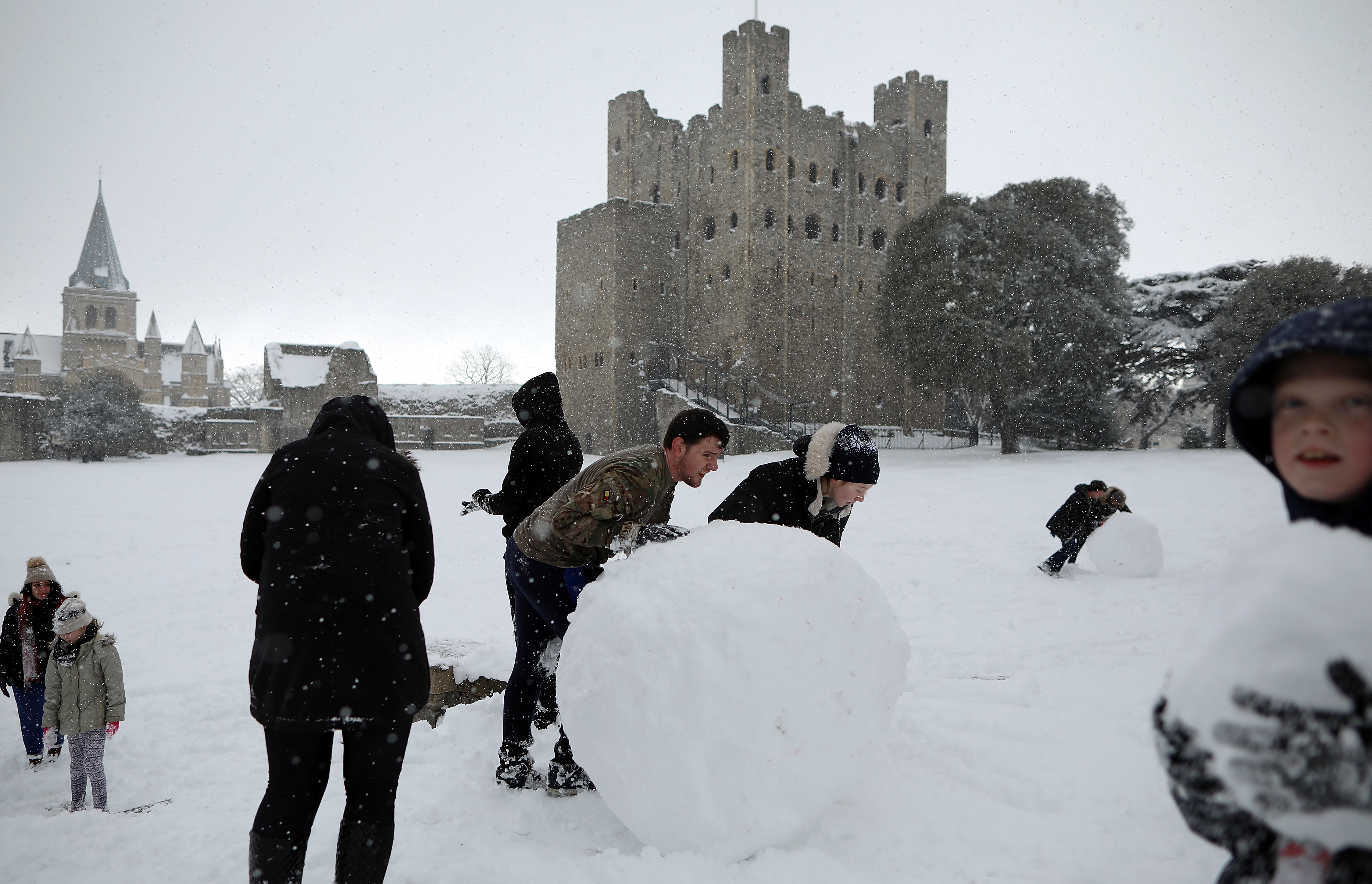 Cold Weather Front From Siberia Brings Snow Across The UK