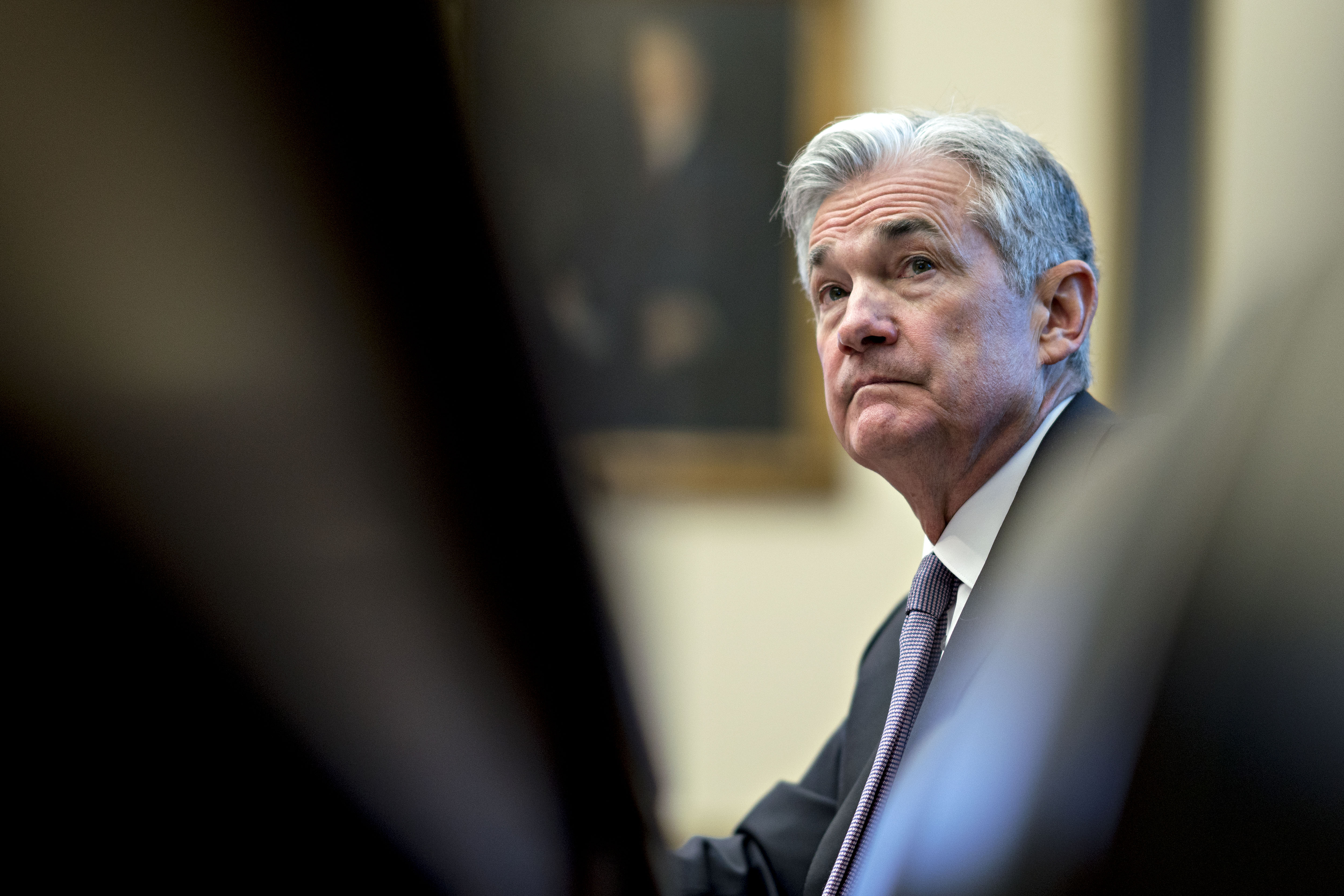 Jerome Powell, chairman of the U.S. Federal Reserve, listens during a House Financial Services Committee hearing in Washington, D.C., U.S., on Tuesday, Feb. 27, 2018.