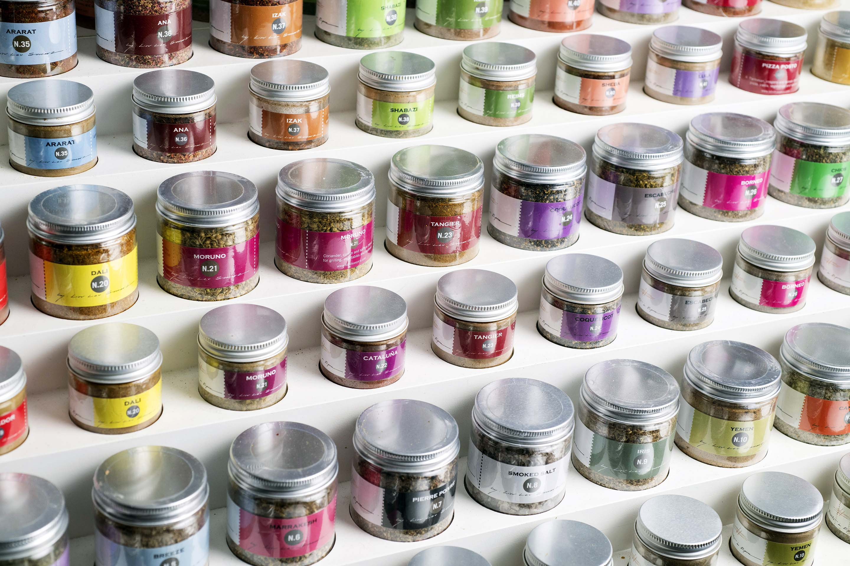 Sercarz's collection of more than 40 spice blends are lined up in neat rows in his shop.
