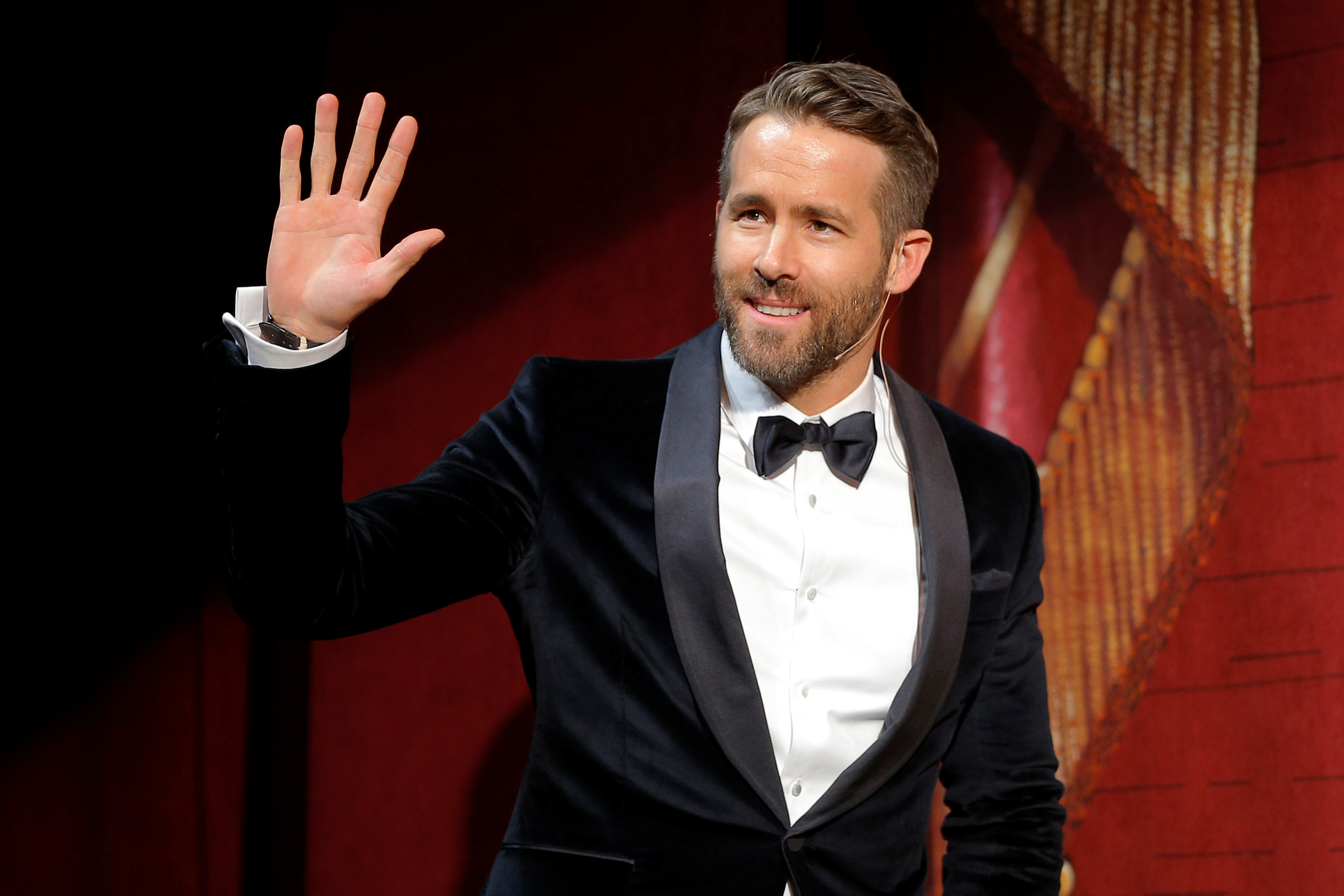 Actor Ryan Reynolds takes the stage to be honored as Hasty Pudding Theatricals Man of the Year at Harvard University in Cambridge