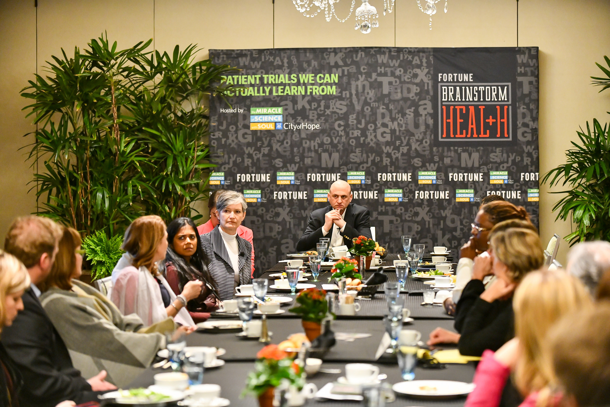 Fortune editor-in-chief Clifton Leaf presiding over a discussion about human clinical trials at the 2018 Fortune Brainstorm Health conference in Laguna Niguel, Calif.