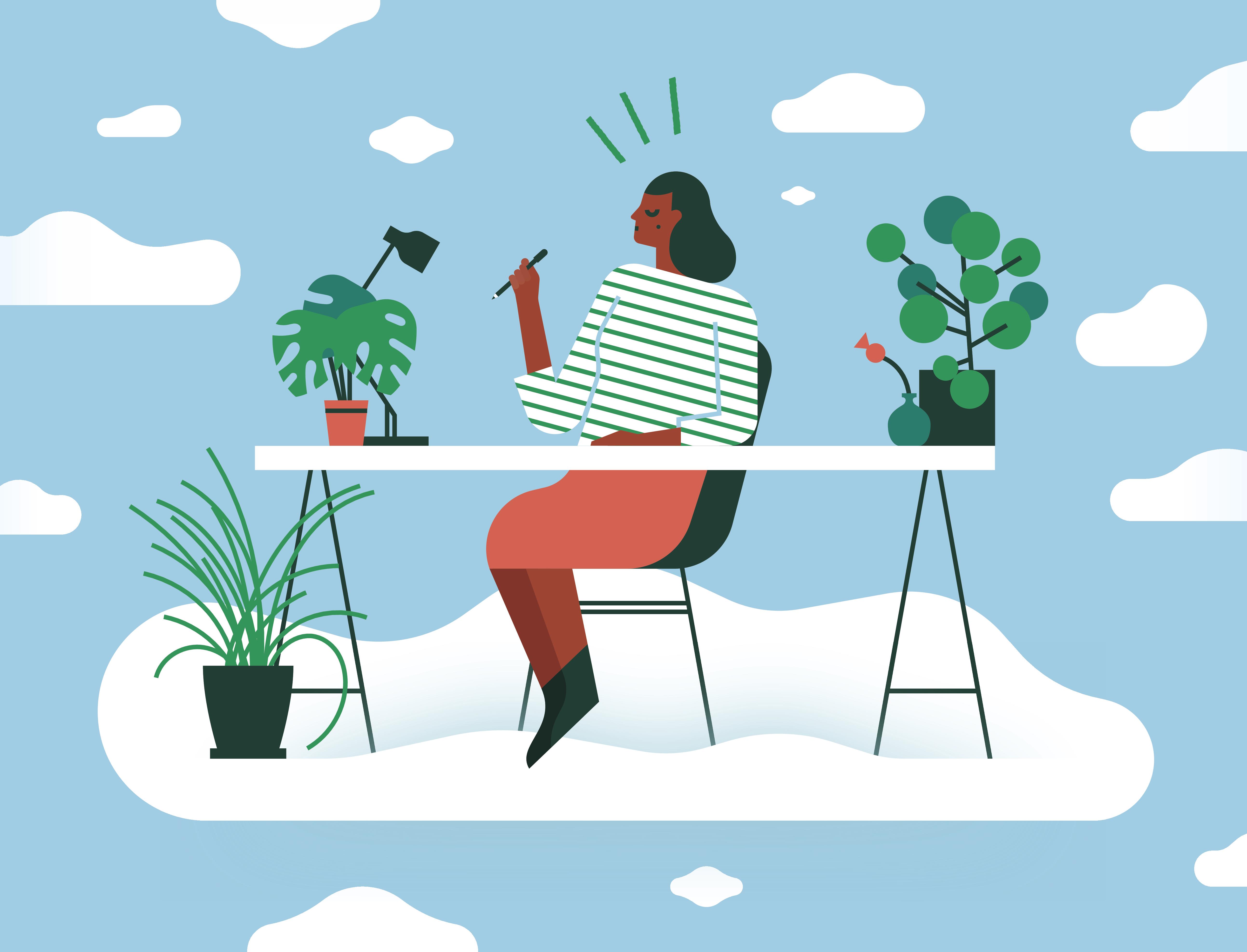 Calm woman meditating at desk