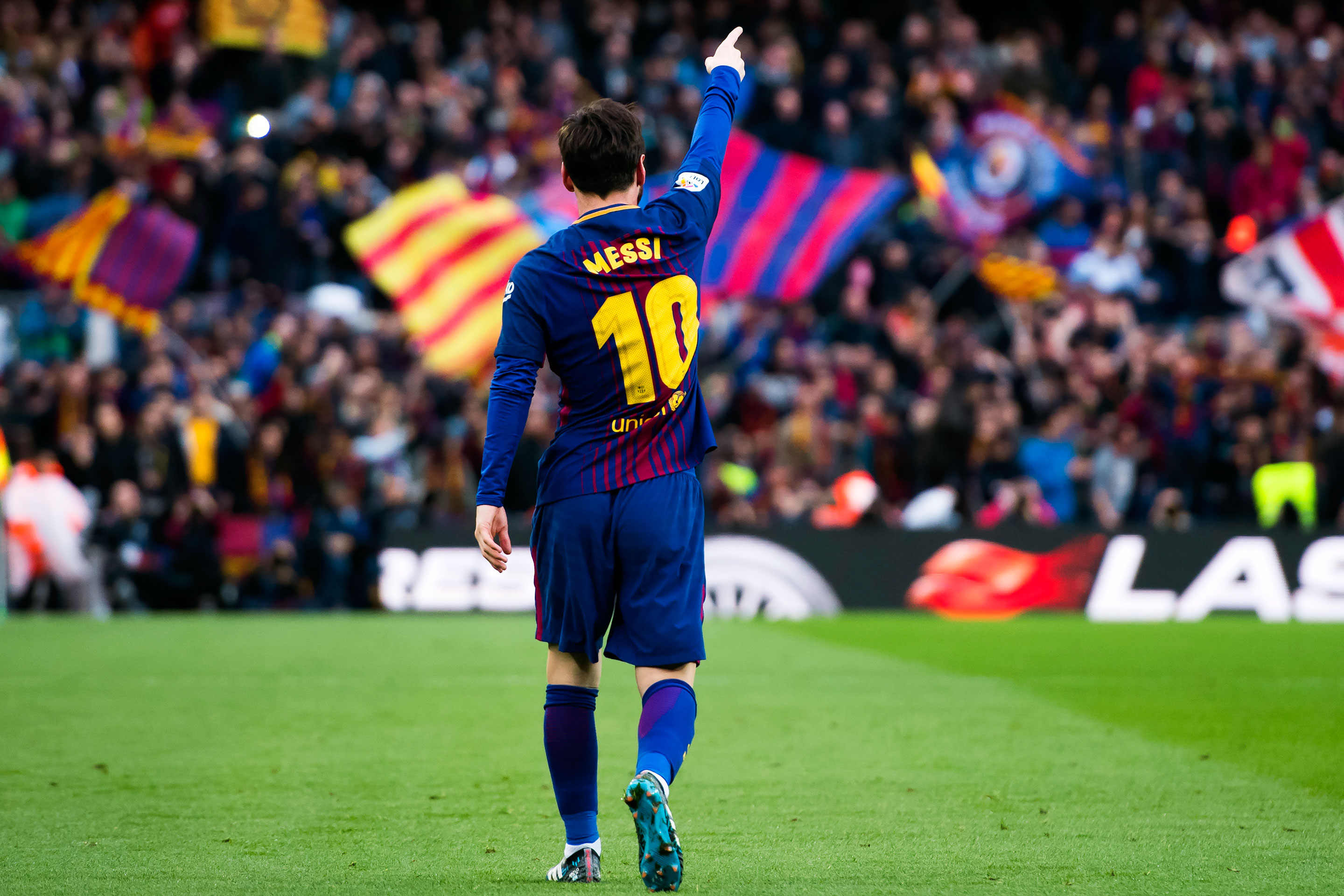 Barcelona's Lionel Messi celebrates after scoring a goal vs. Atlético Madrid on March 4.