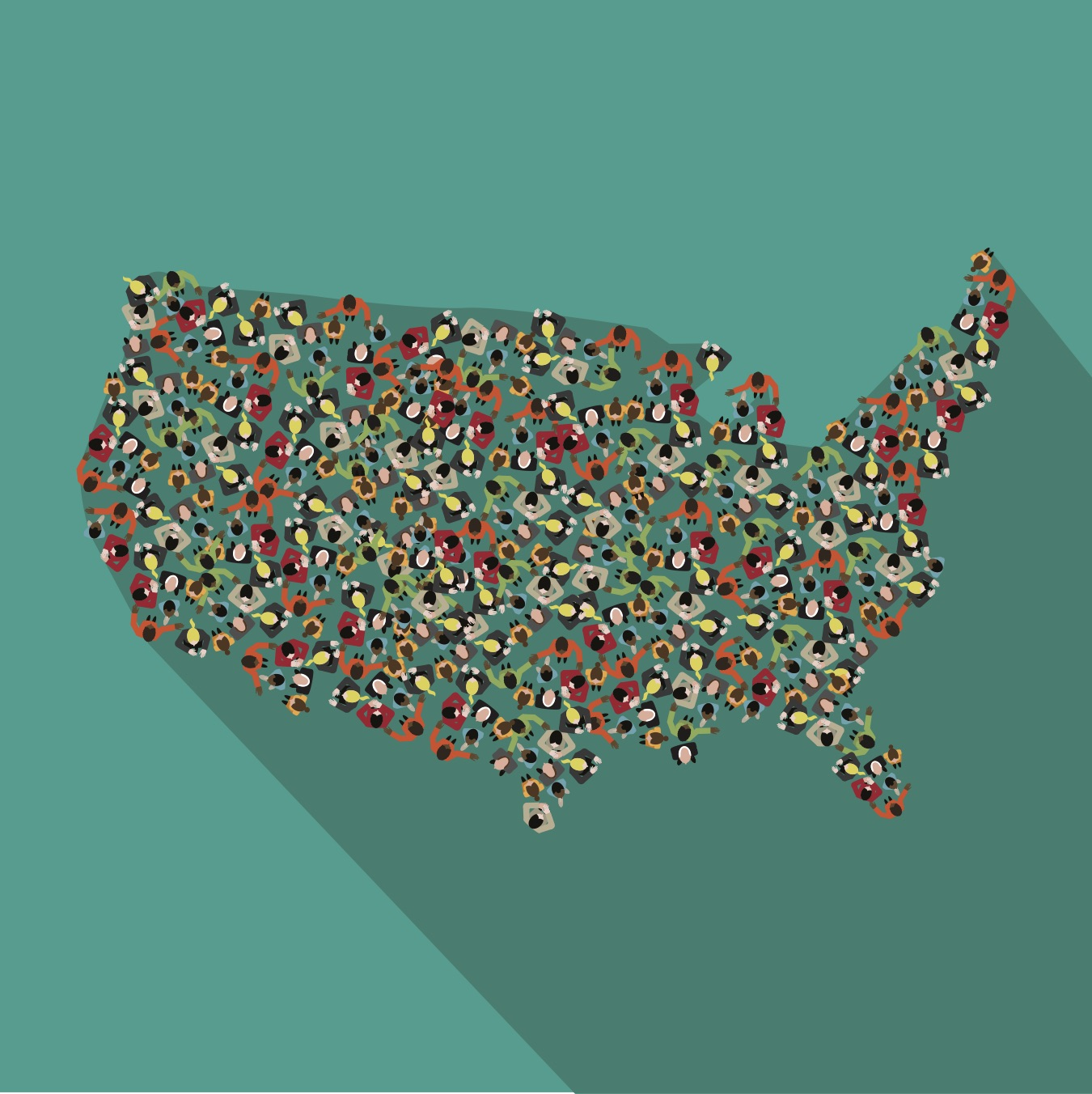 view of the United States from above shows the the country is made up of people standing close together