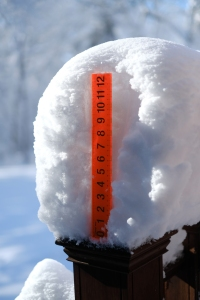 Over a foot of snow fell outside Boston