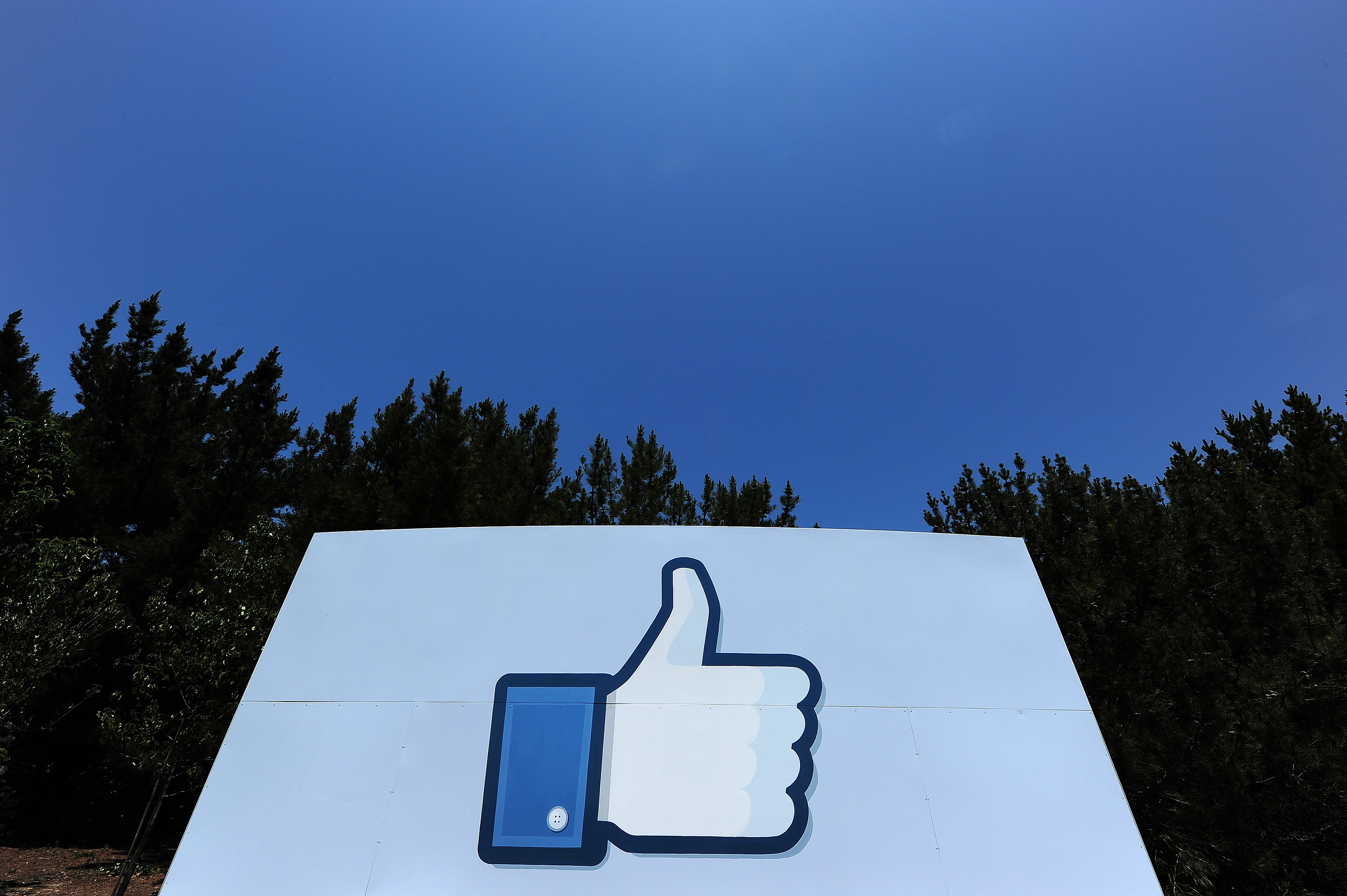 "The ""Like"" logo at the Facebook main campus in Menlo Park, California."