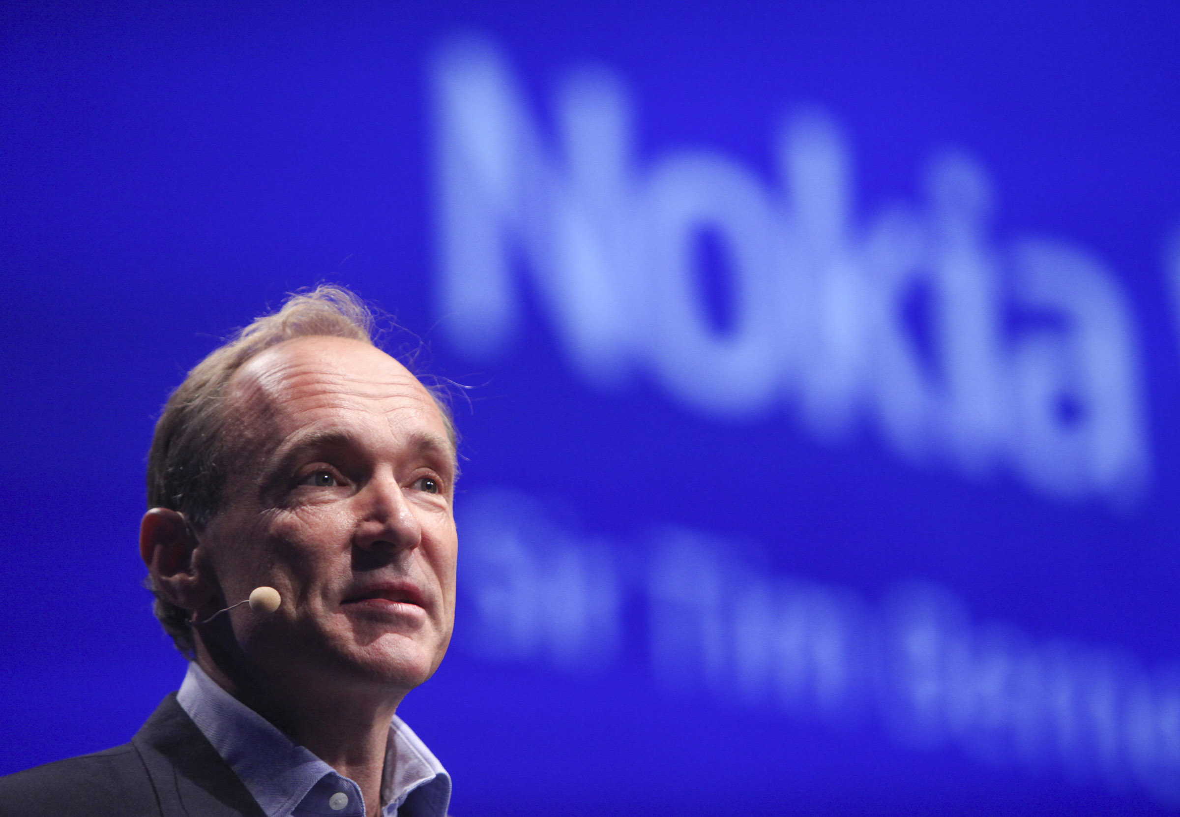 Tim Berners-Lee, creator of the World Wide Web, on stage at Nokia World even in 2010