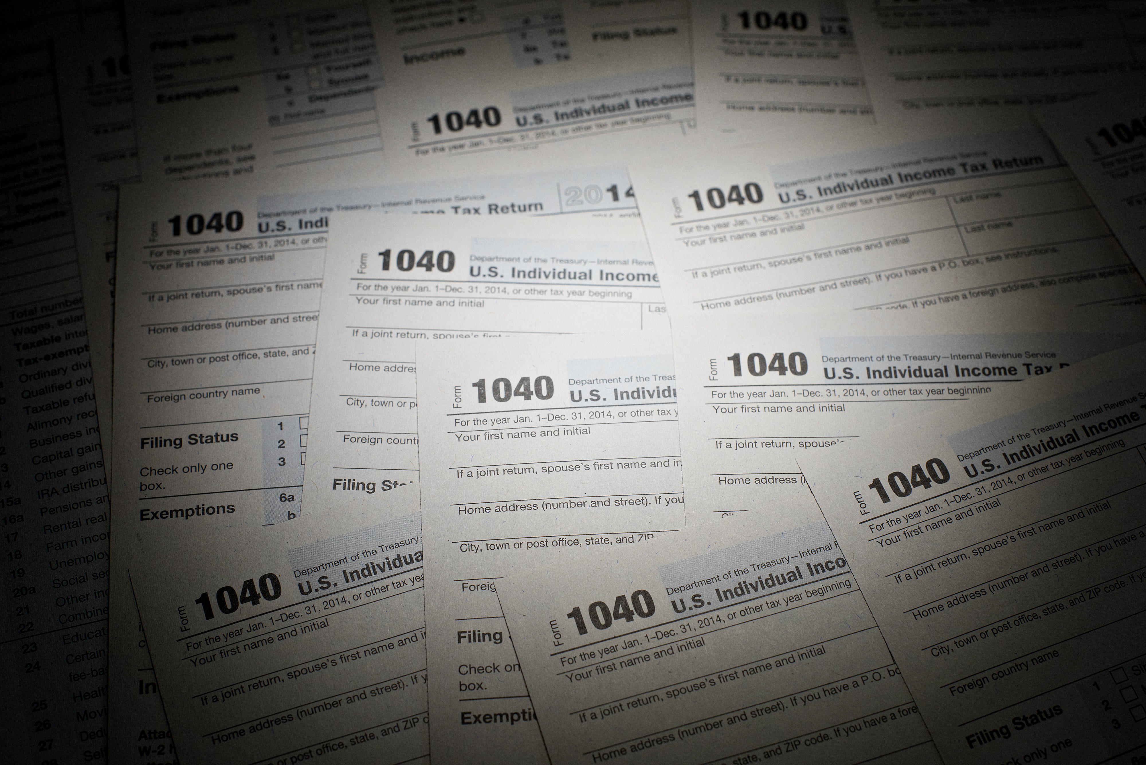 A pile of IRS tax forms