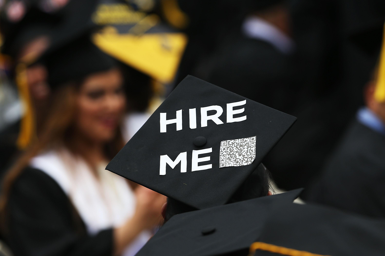 College graduation cap reads: hire me